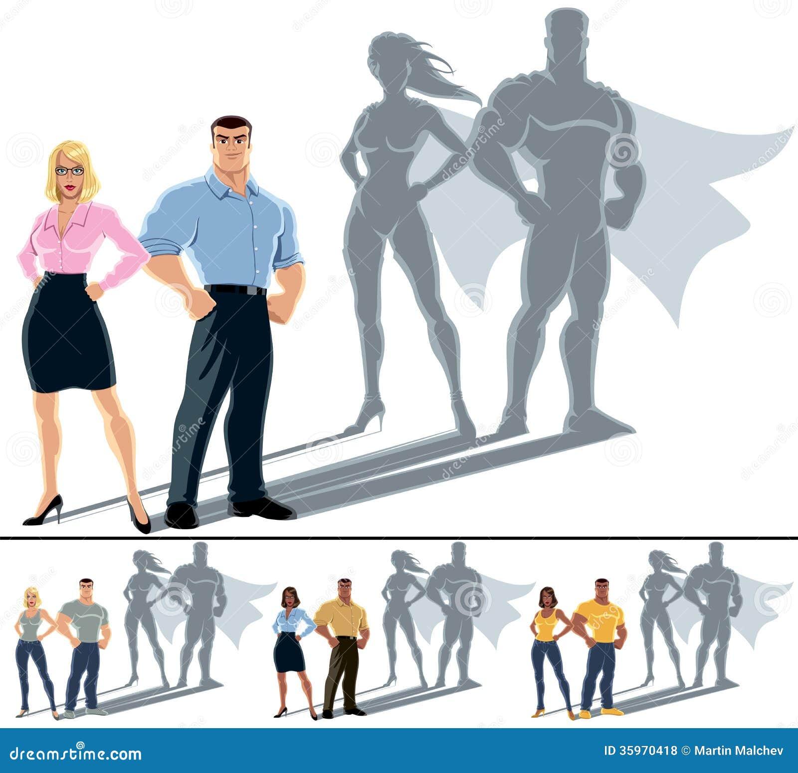 夫妇超级英雄概念