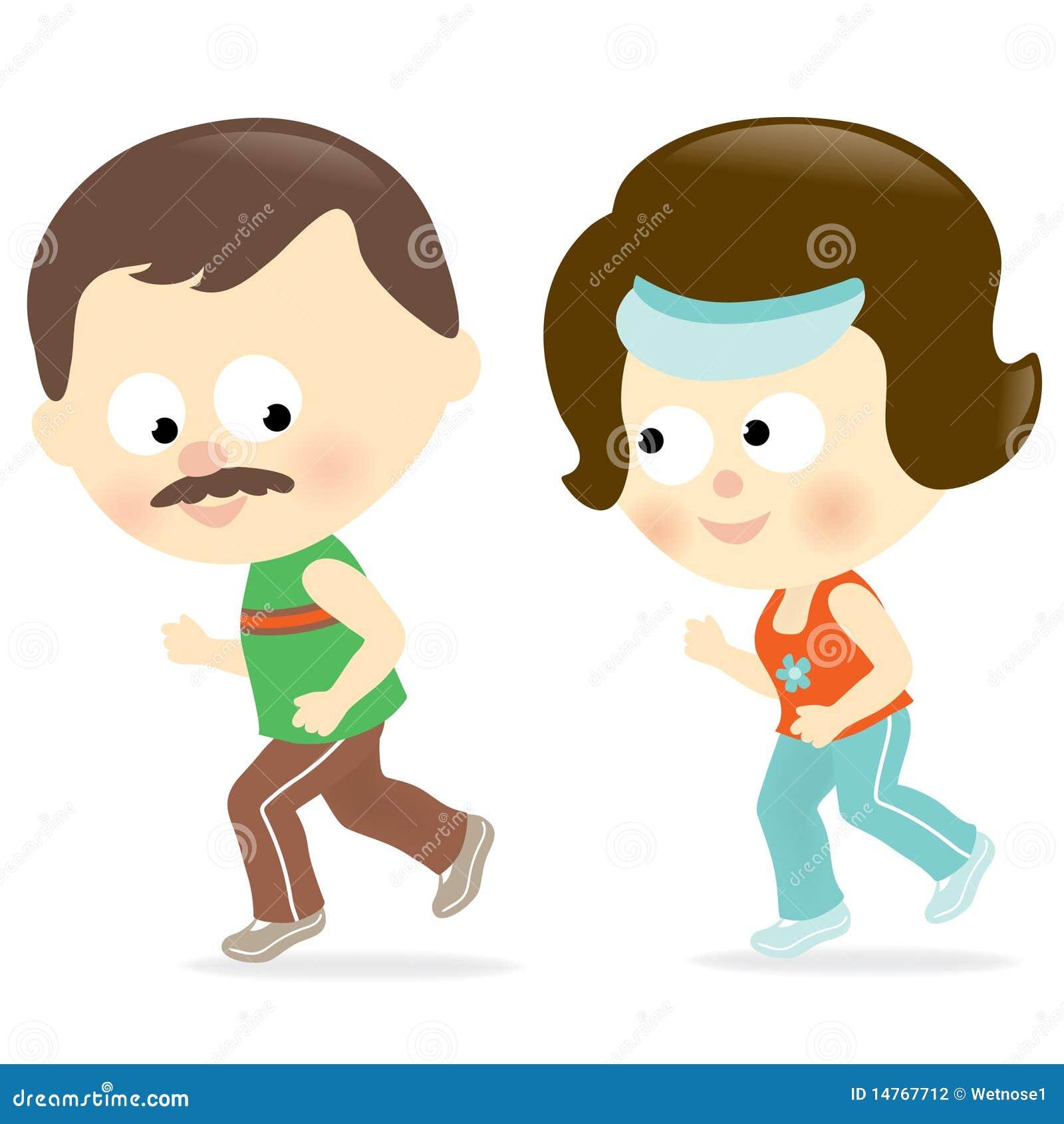 夫妇例证跑步.图片