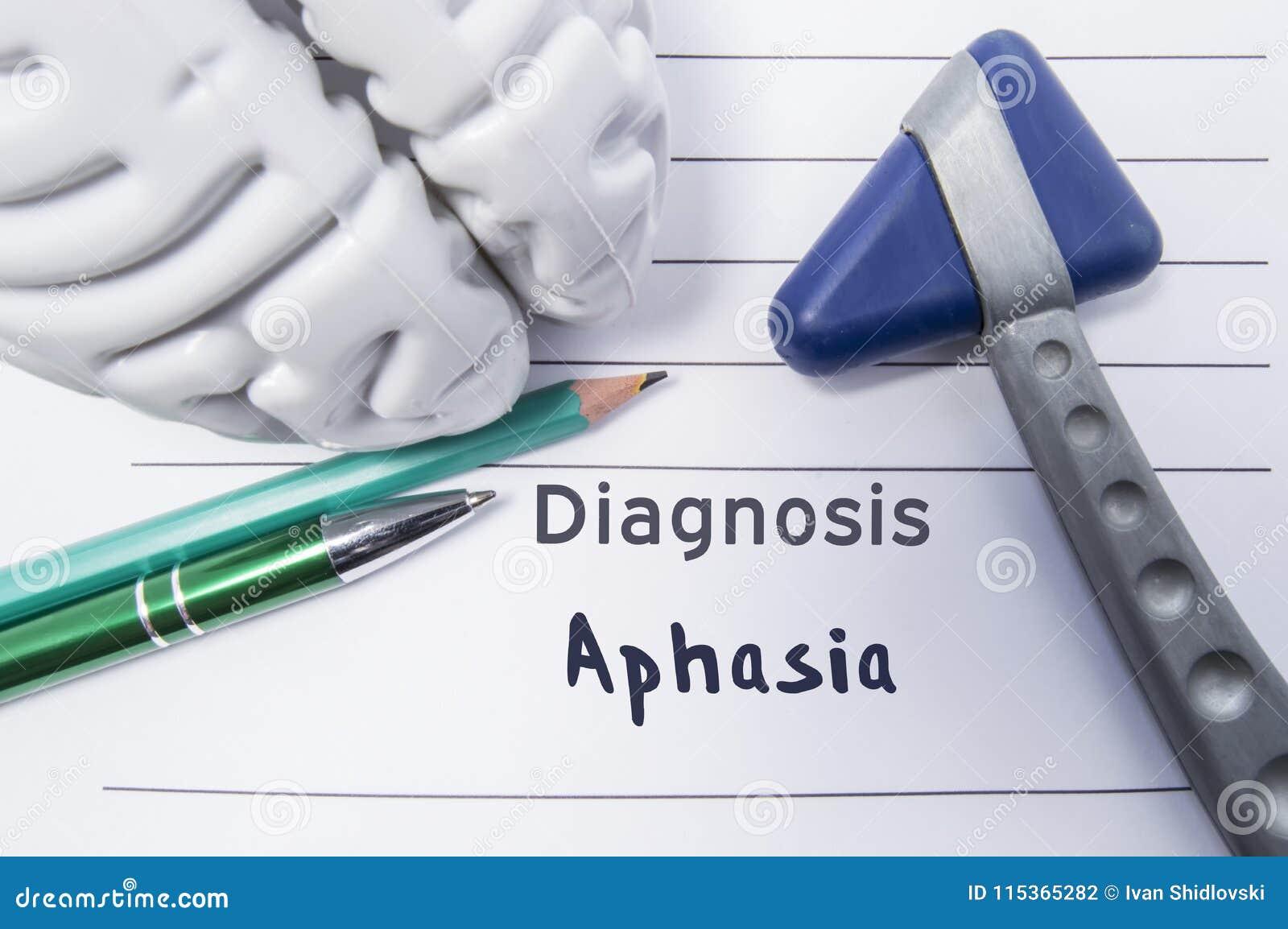失语症神经学诊断  神经学反射锤子,脑子的形状,笔和书写说谎在一个医疗报告, l