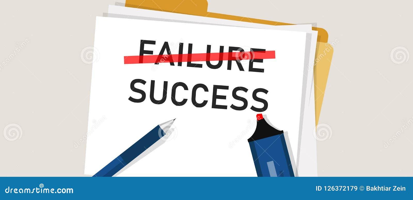 失败是成功过程中的激动人心的文本 在纸标记的词 企业挑战的概念