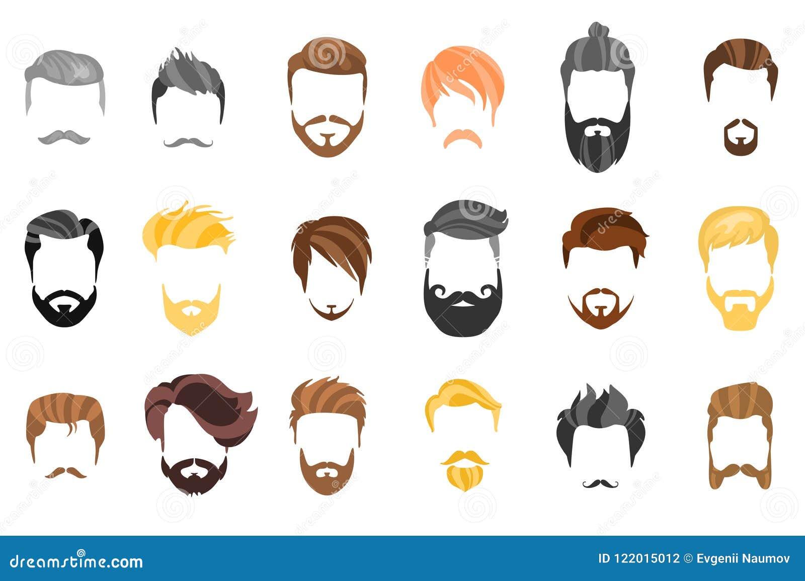头发、胡子和面孔,头发,面具保险开关动画片平的收藏 导航人` s发型、例证、胡子和头发