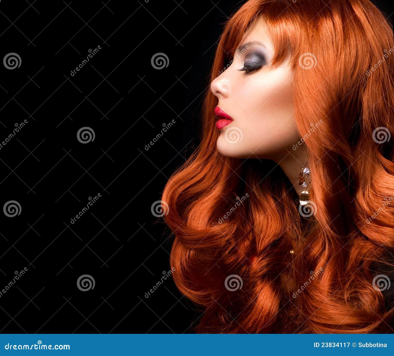头发红色波浪