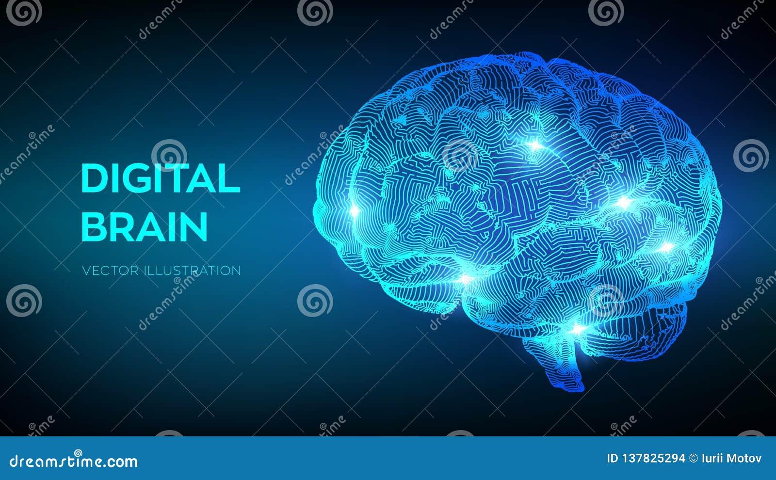 头脑的 数字式脑子 3D科学技术概念 神经系统的网络 智商测试,人工智能真正仿效