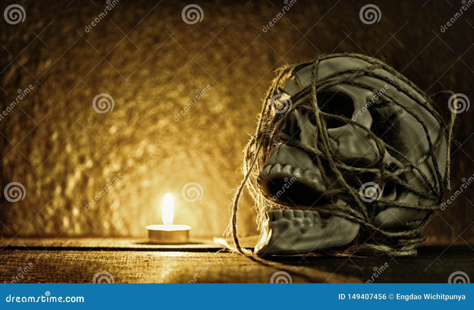 头骨静物画/人的头骨有绳索的装饰在万圣节聚会和轻的蜡烛在黑暗