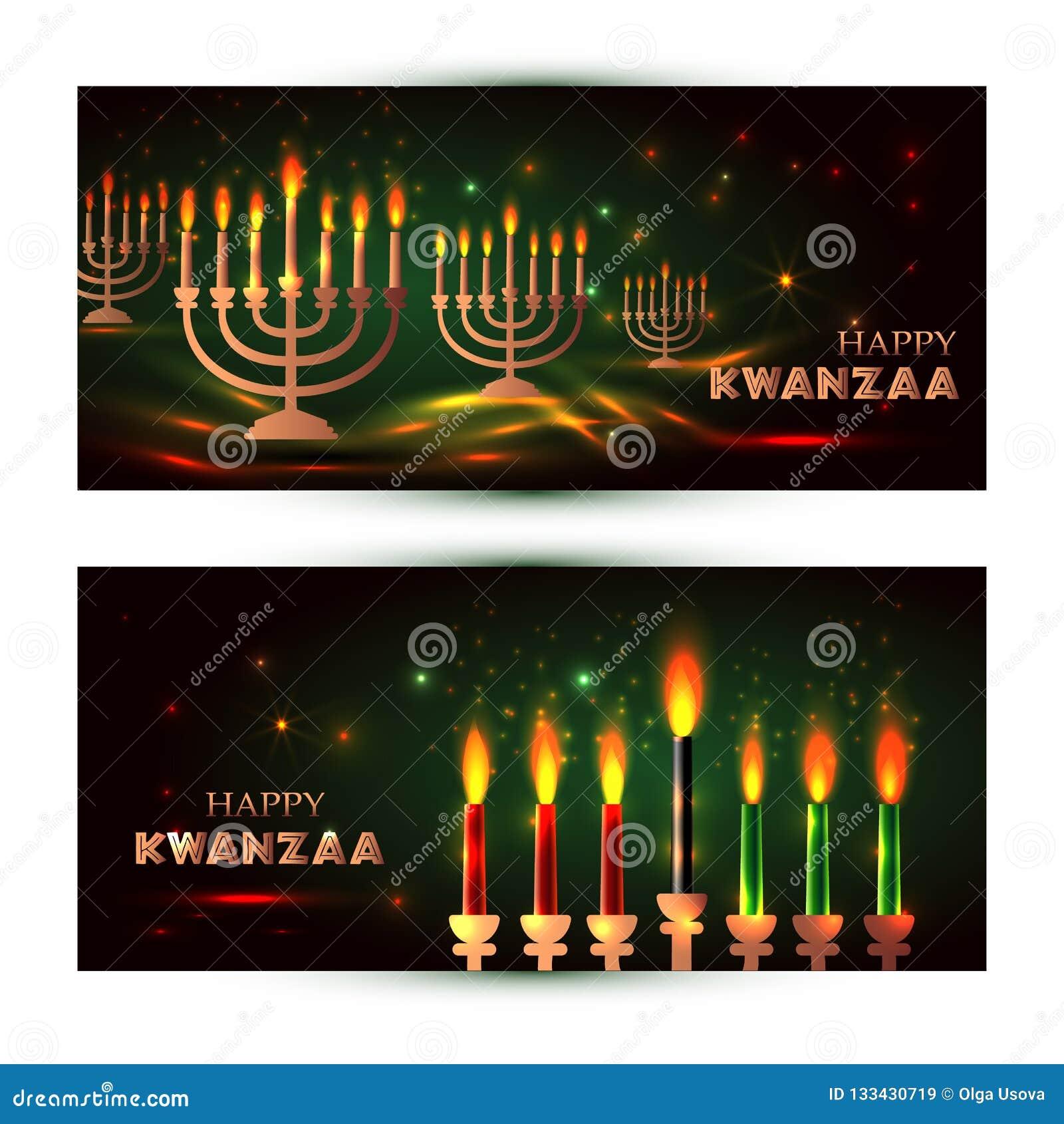 夸尼扎的水平的代表七位原则或Nguzo萨巴的横幅与传统上色和蜡烛