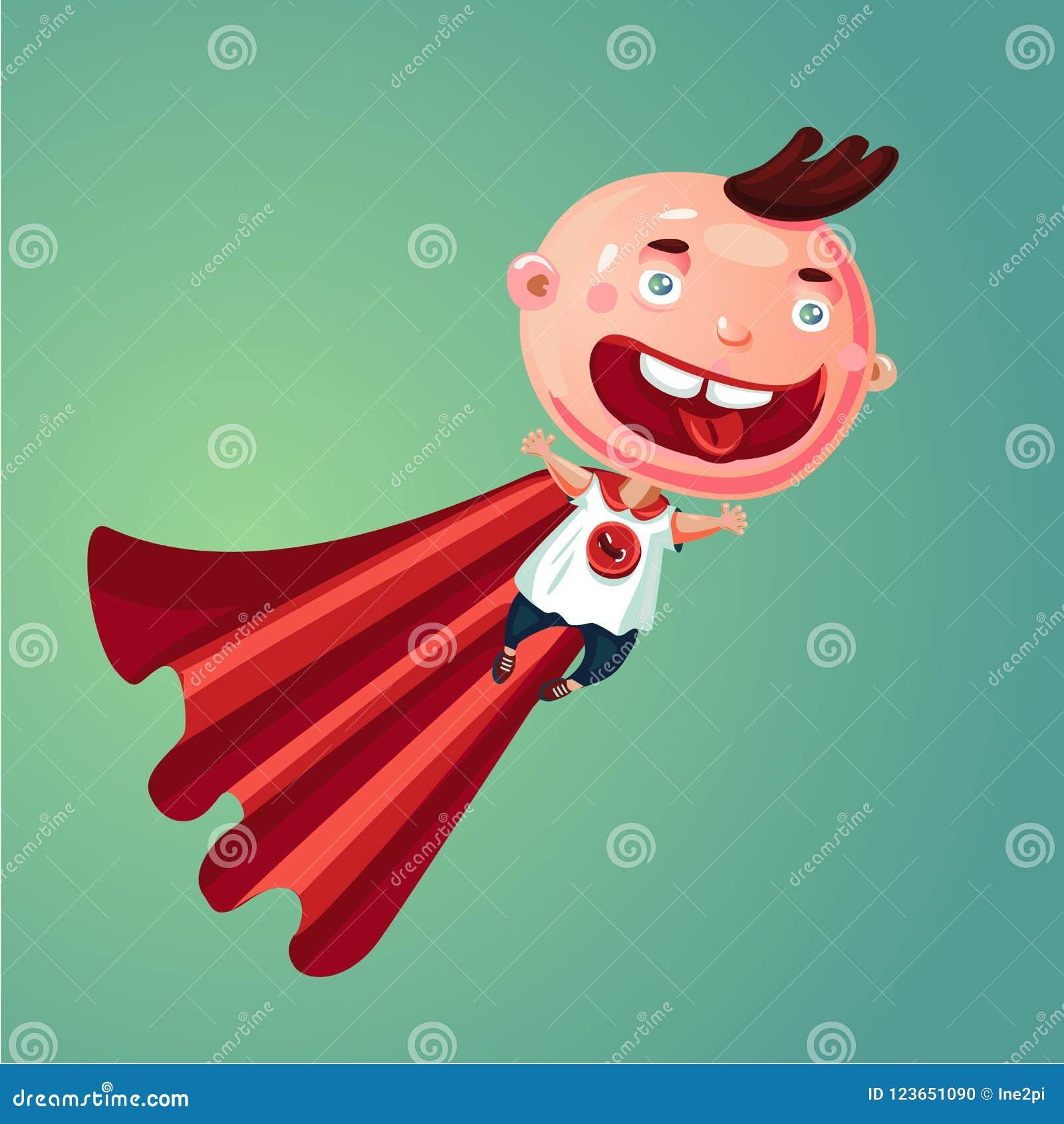 奇迹婴孩 超级男孩 特级英雄衣服的滑稽的小孩 幽默动画片例证