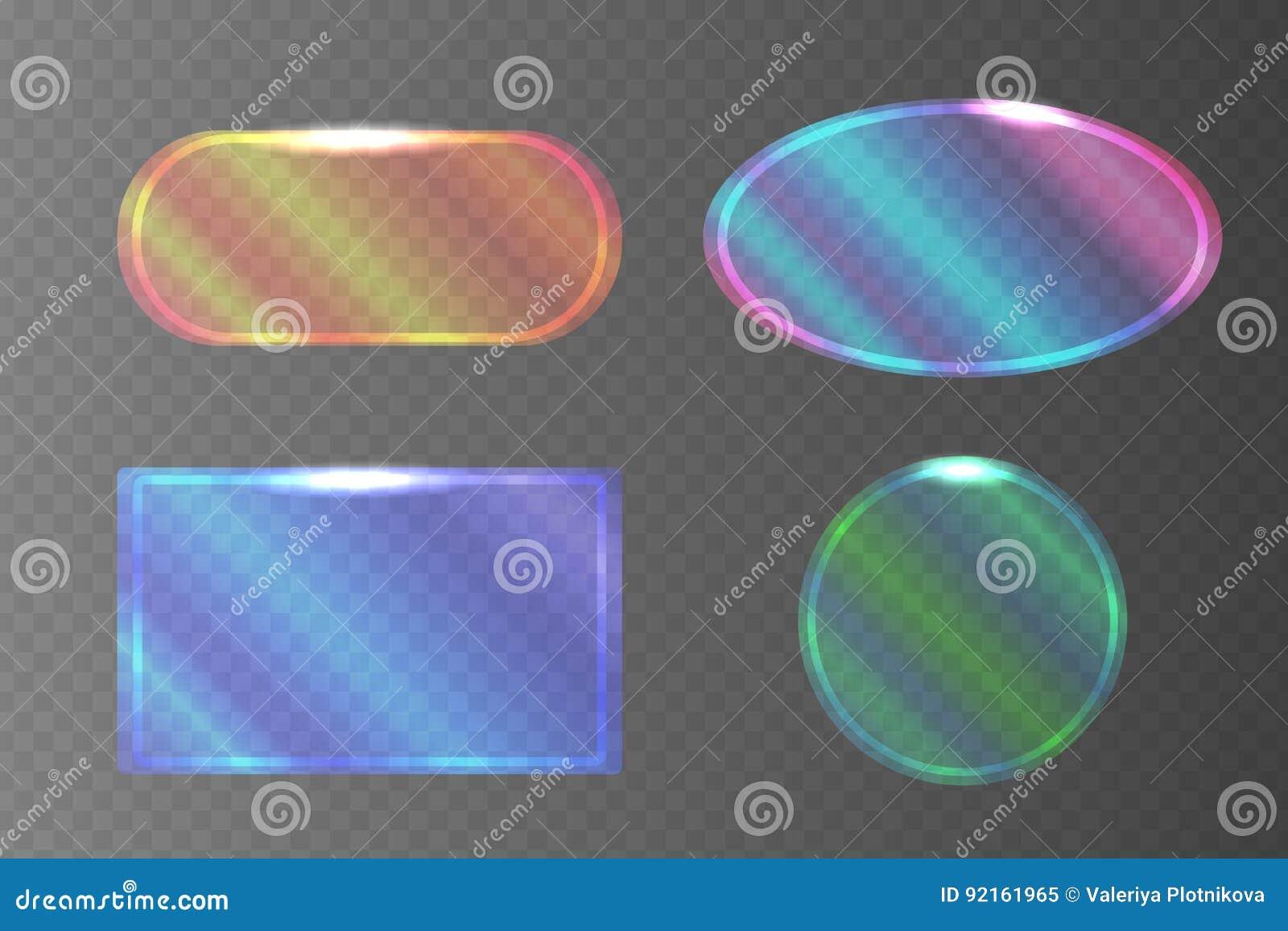 套不同的形状透明珠母般的横幅