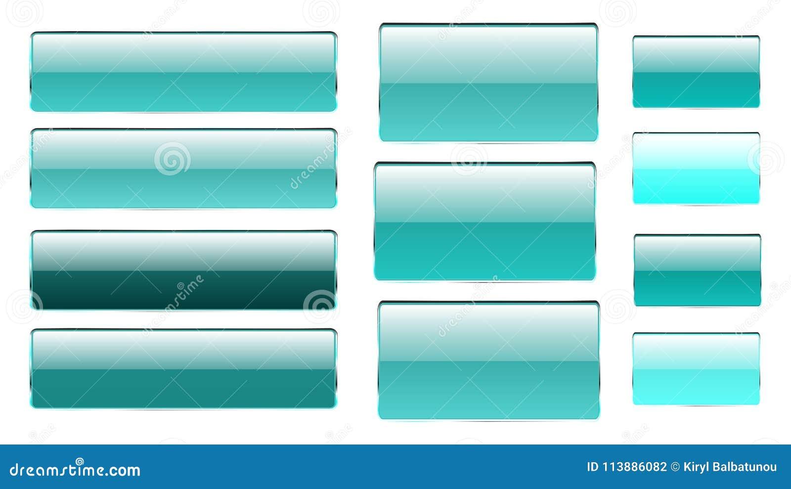 套不同的树荫蓝色长方形和方形的玻璃透明明亮的美丽的传染媒介按钮与一银色金属fram的