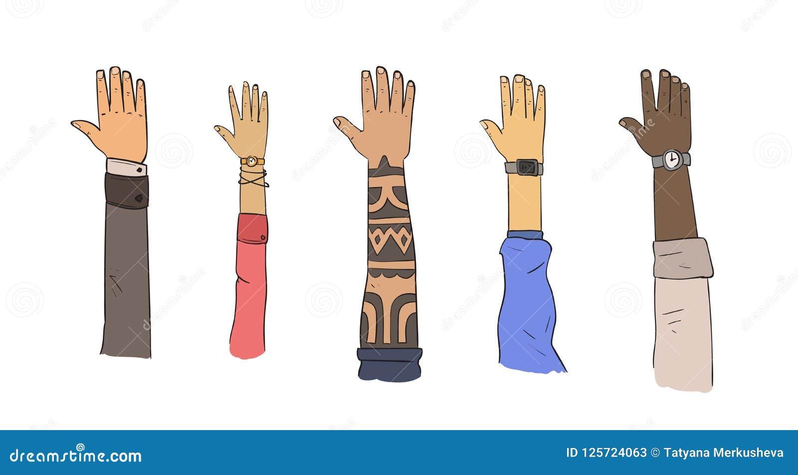 套不同的种族和生活方式的手 平的传染媒介例证 背景查出的白色