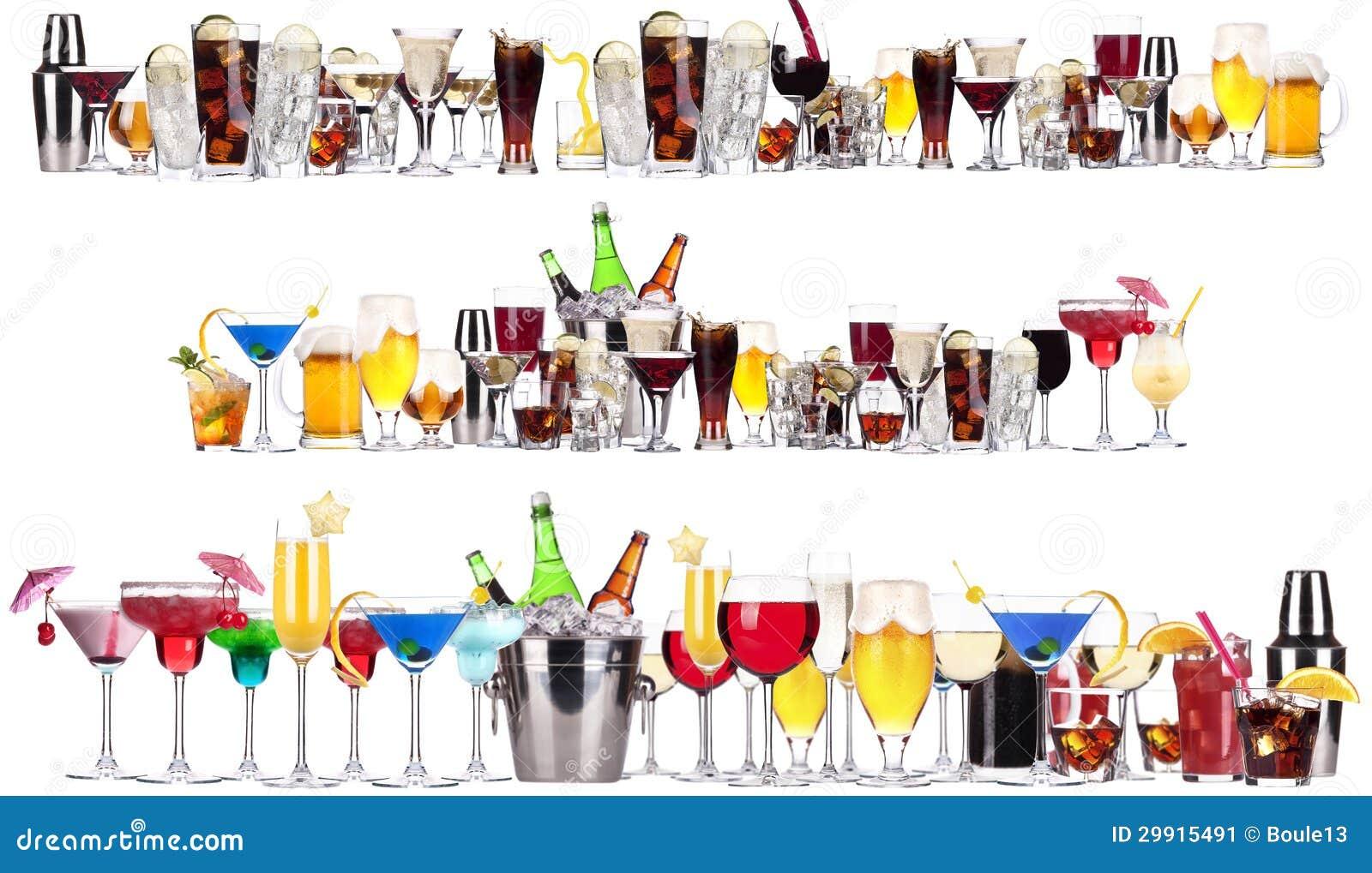 套不同的酒精饮料和鸡尾酒