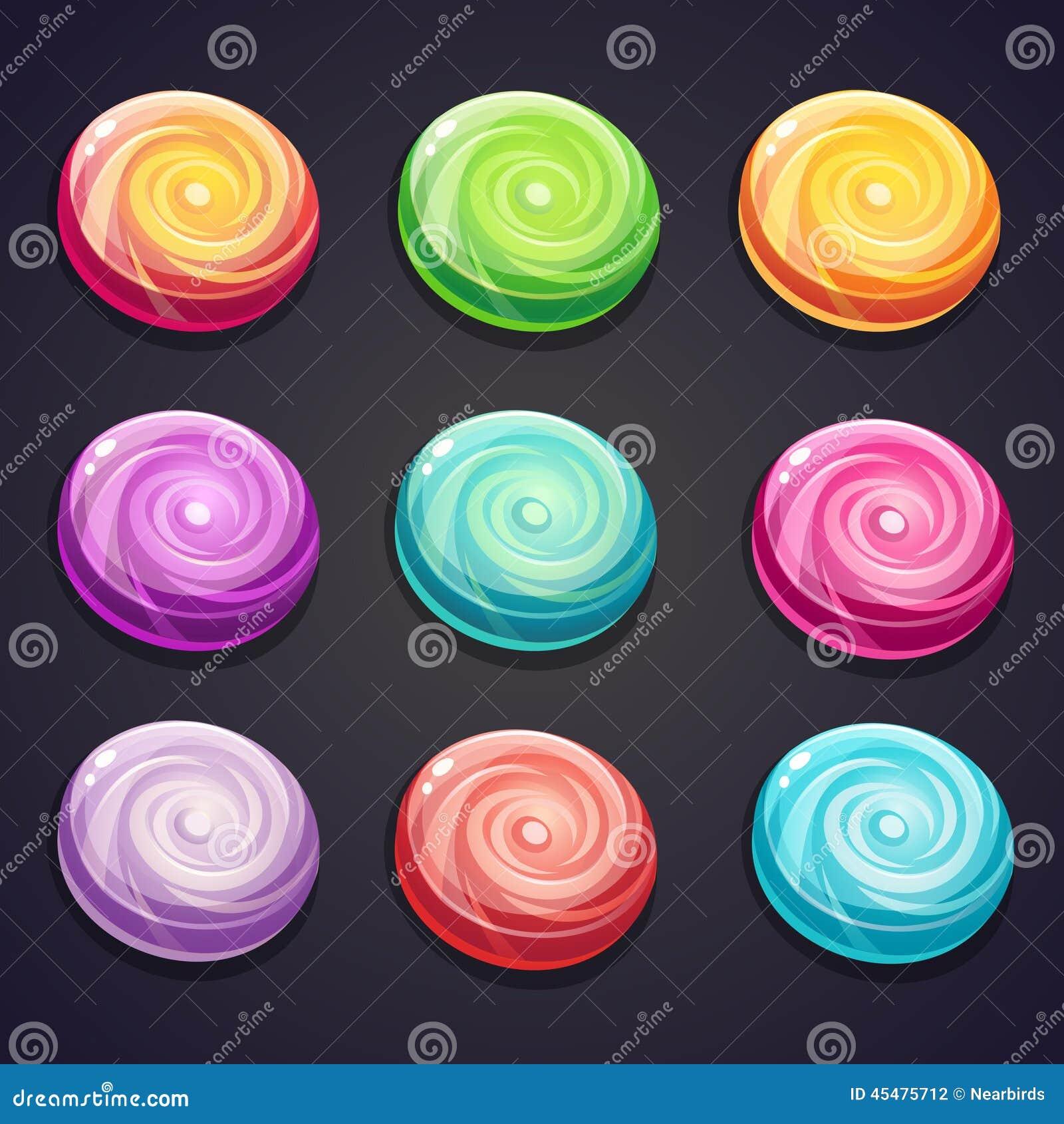 套不同的颜色糖果计算机游戏的
