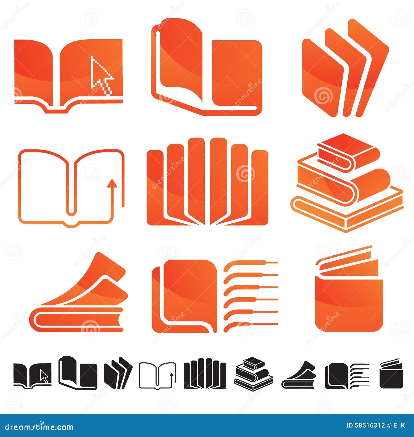 套与书剪影和教育标志的九个象 在温暖的coolour口气.