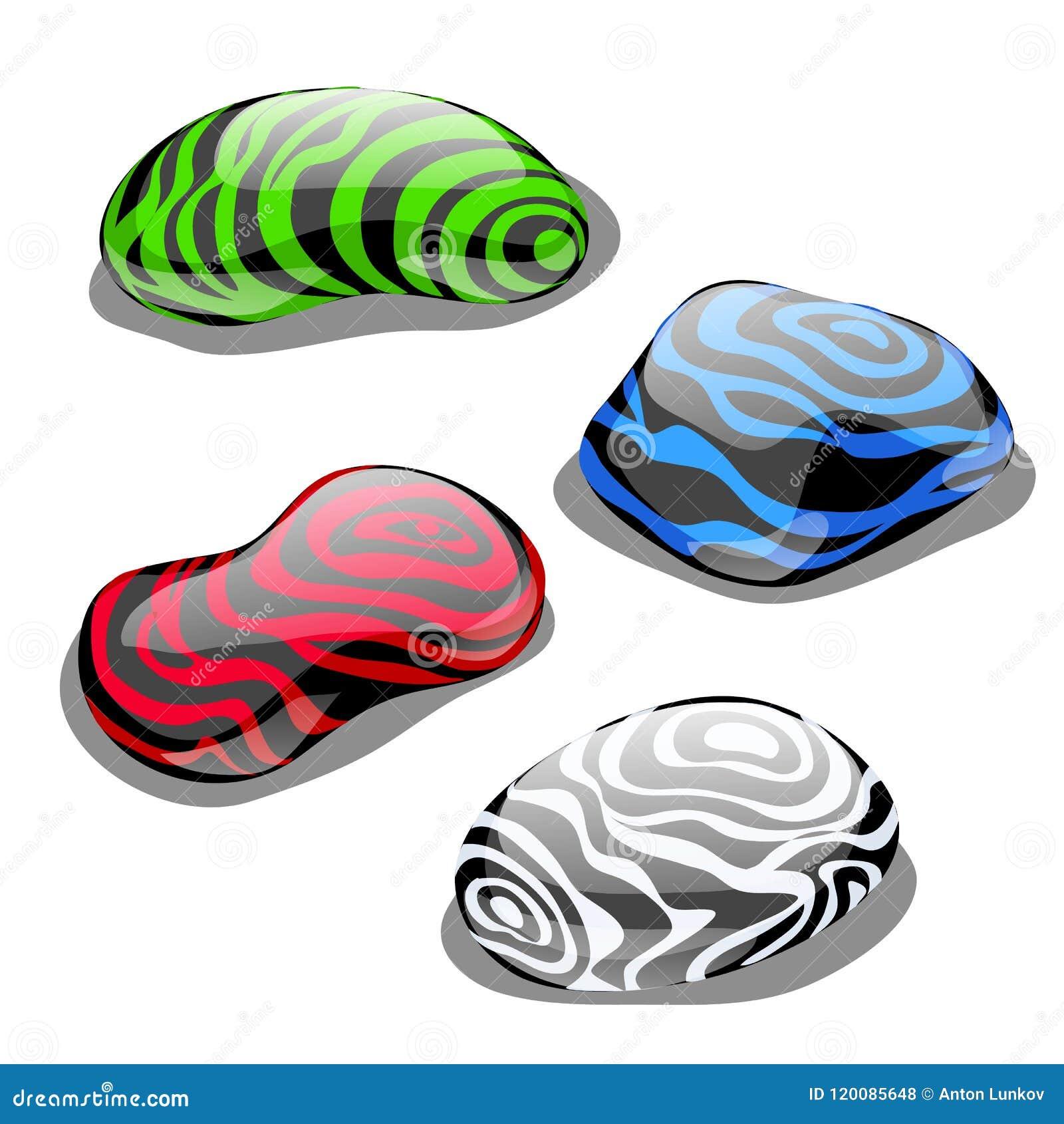 套与优美的表面和颜色的四块石头,象征水的元素,被隔绝的空气、地球和火