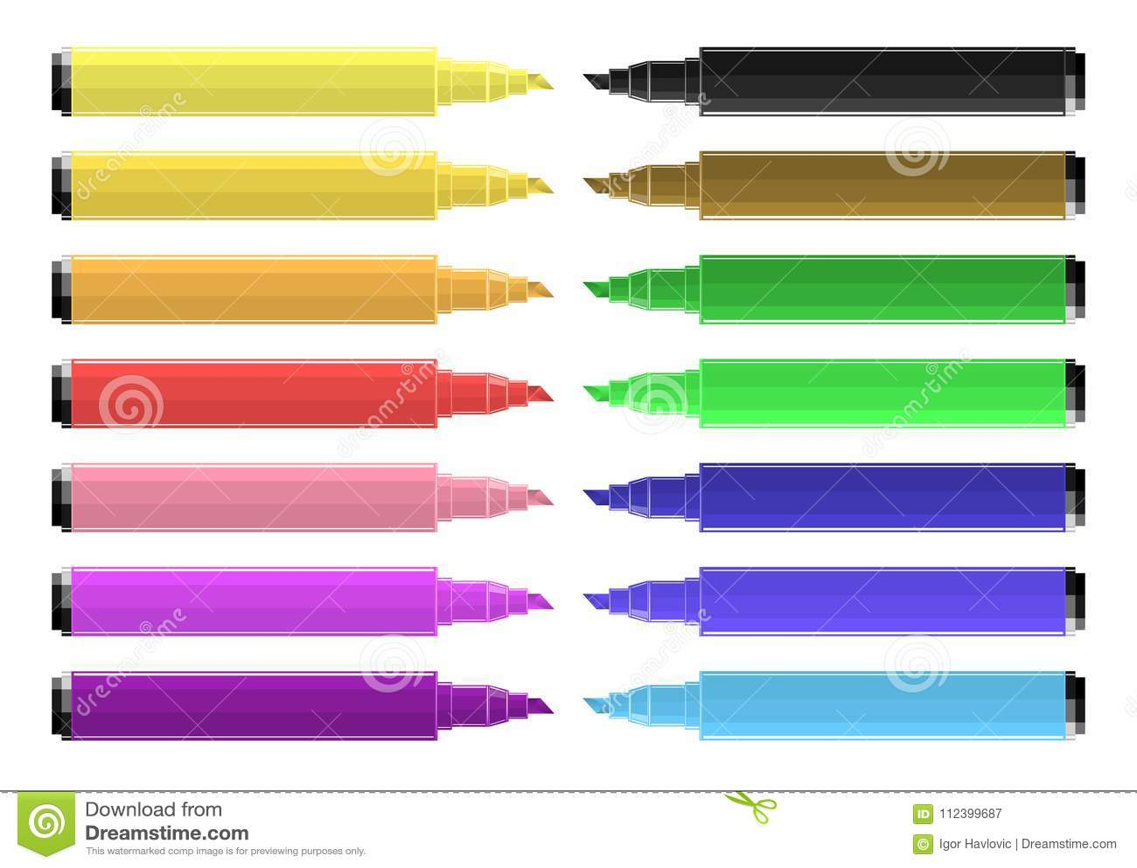 套与充满活力的颜色的着色标志