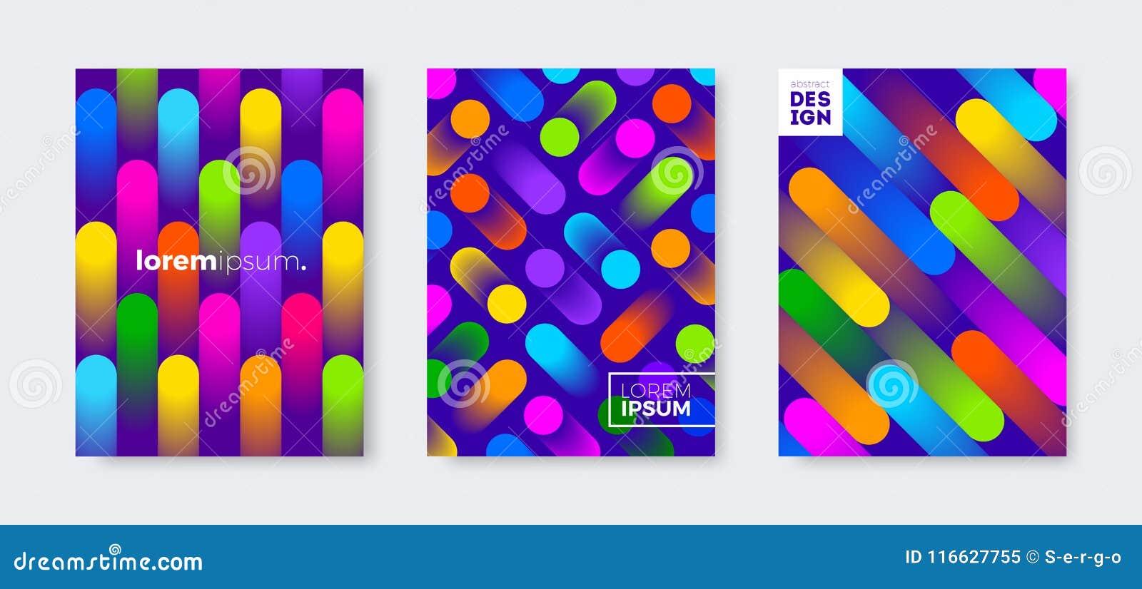 套与抽象多彩多姿的梯度的盖子设计塑造 传染媒介例证模板 普遍抽象设计