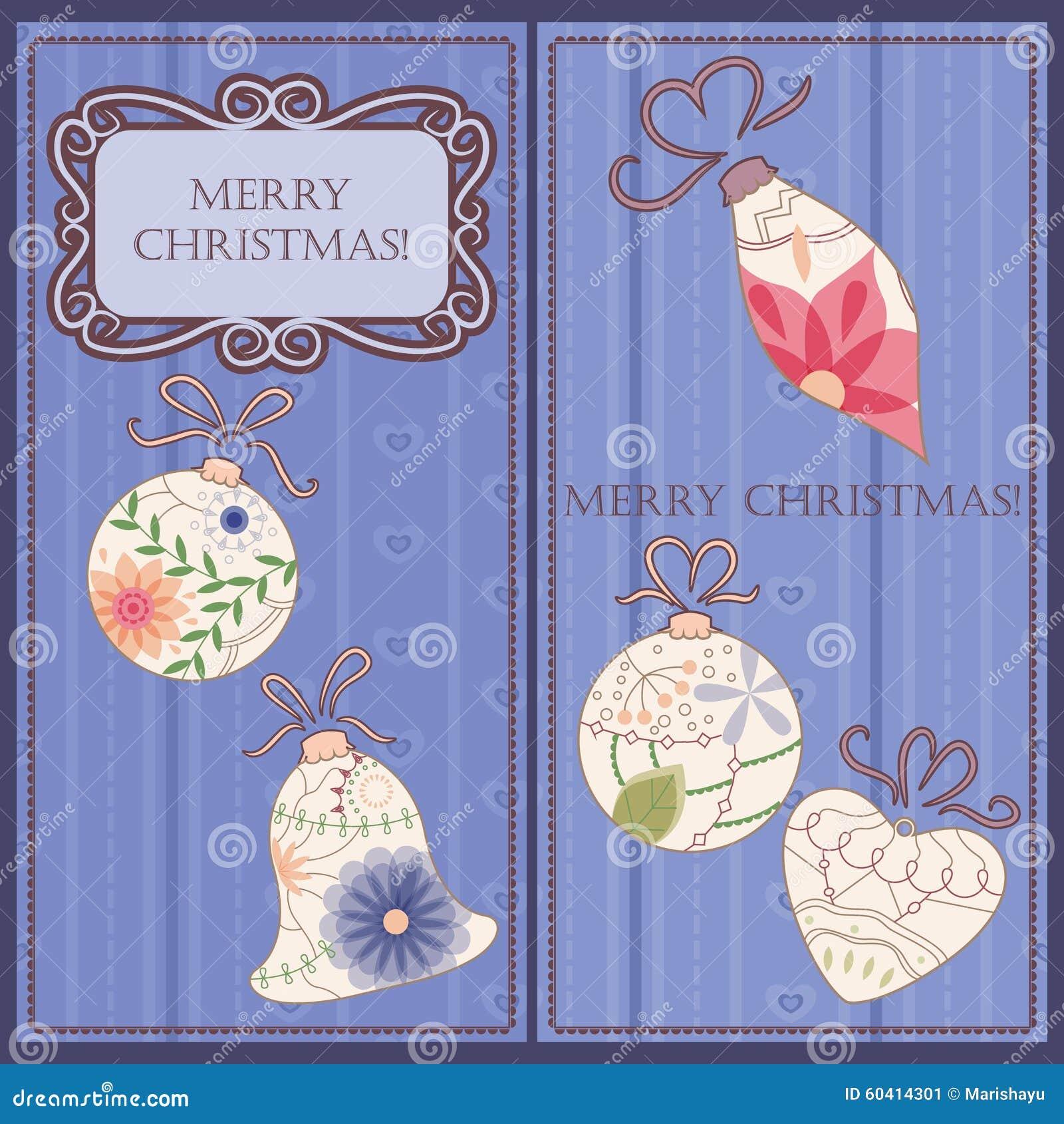 套与玩具葡萄酒的圣诞节和新年卡片