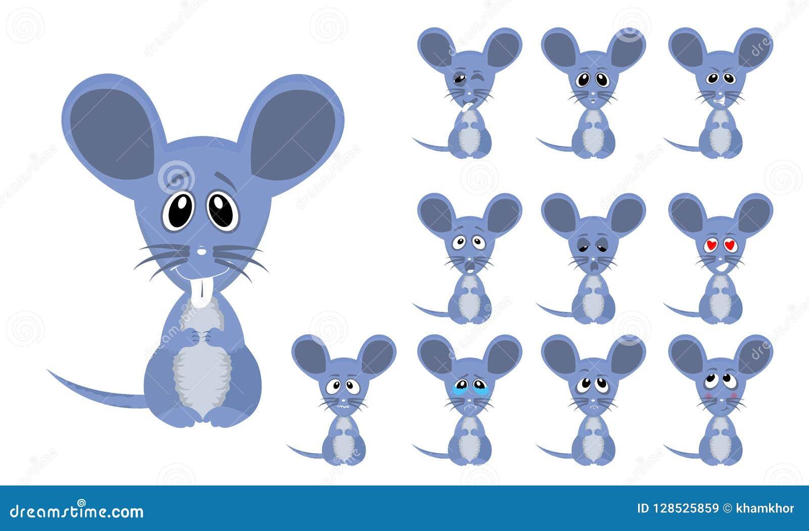 套与表情的传染媒介例证滑稽的动画片小的灰色老鼠