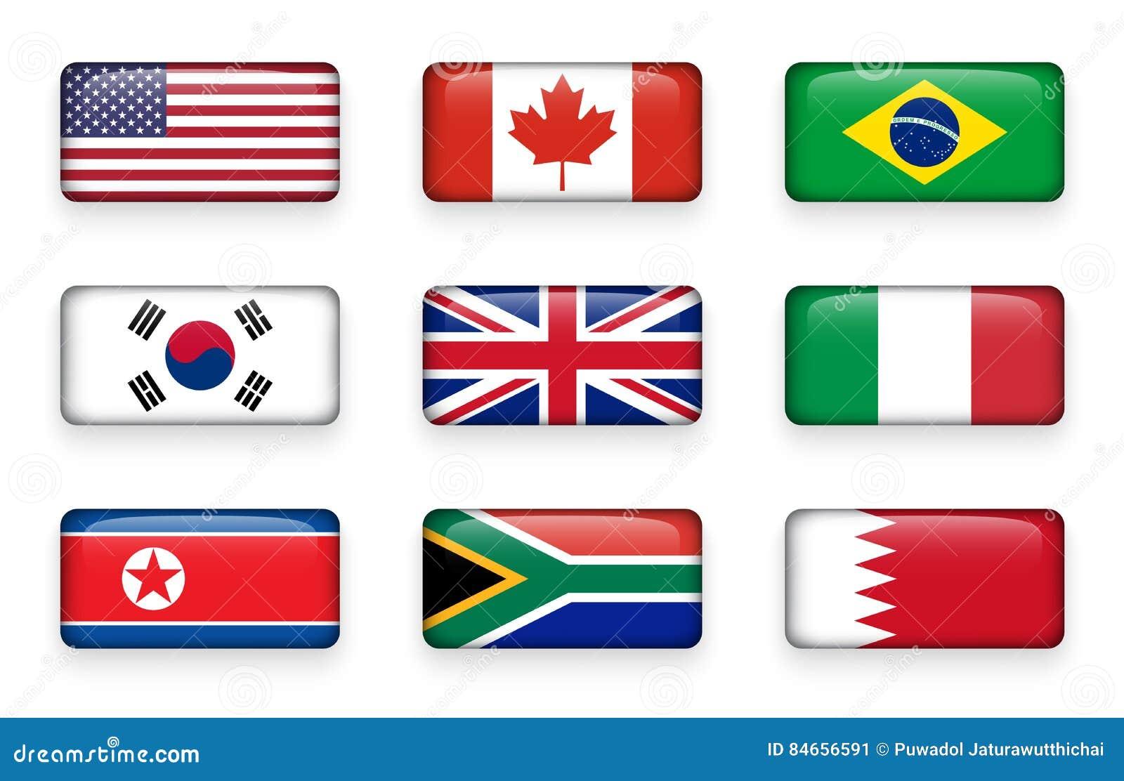 套世界下垂围绕长方形按钮美国 加拿大 面包渣 30更改的卫兵7月韩国国王好朋友s汉城南部 英国的英国 意大利 北部