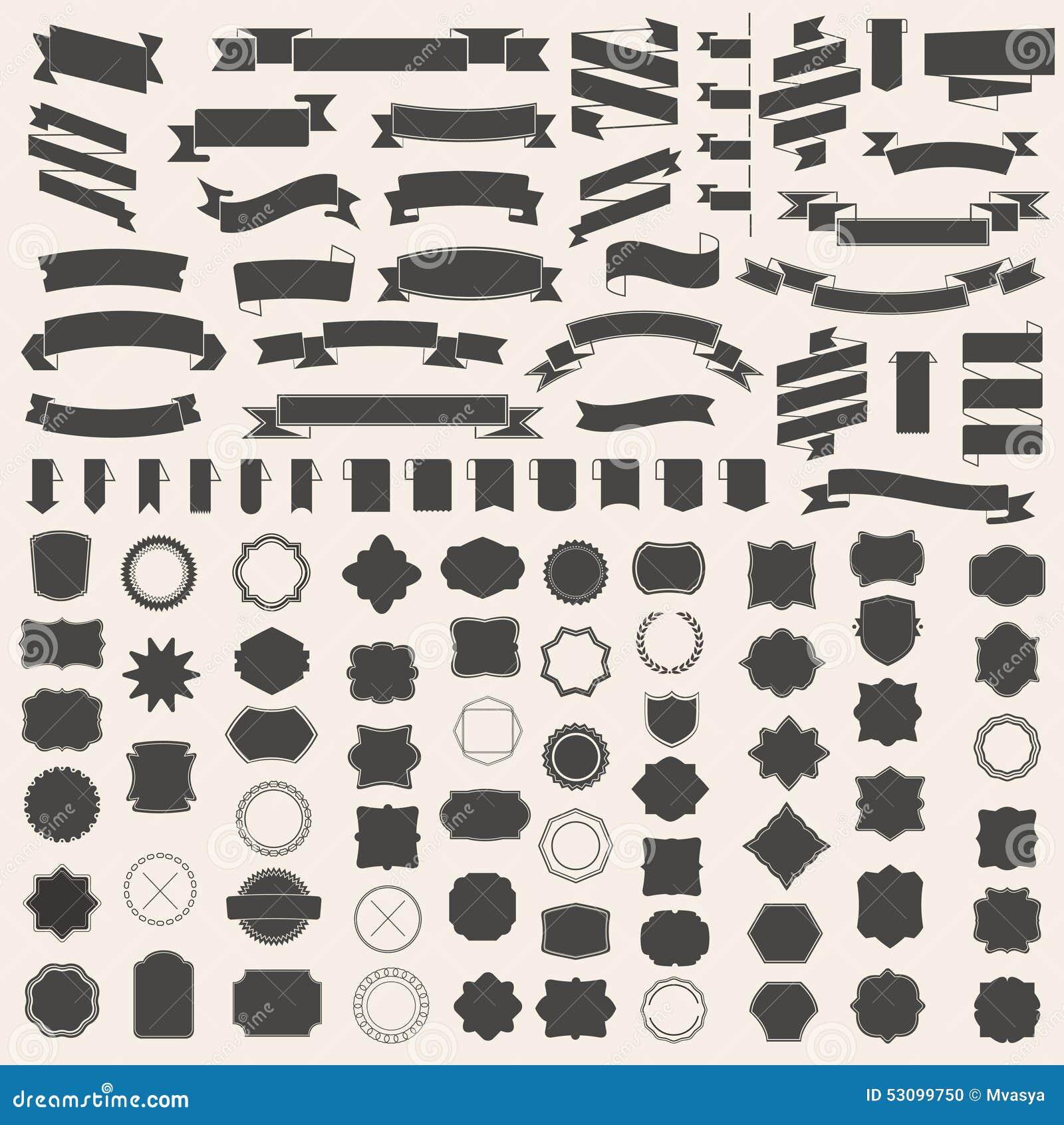 套丝带和框架,徽章,标签 您的设计的传染媒介模板