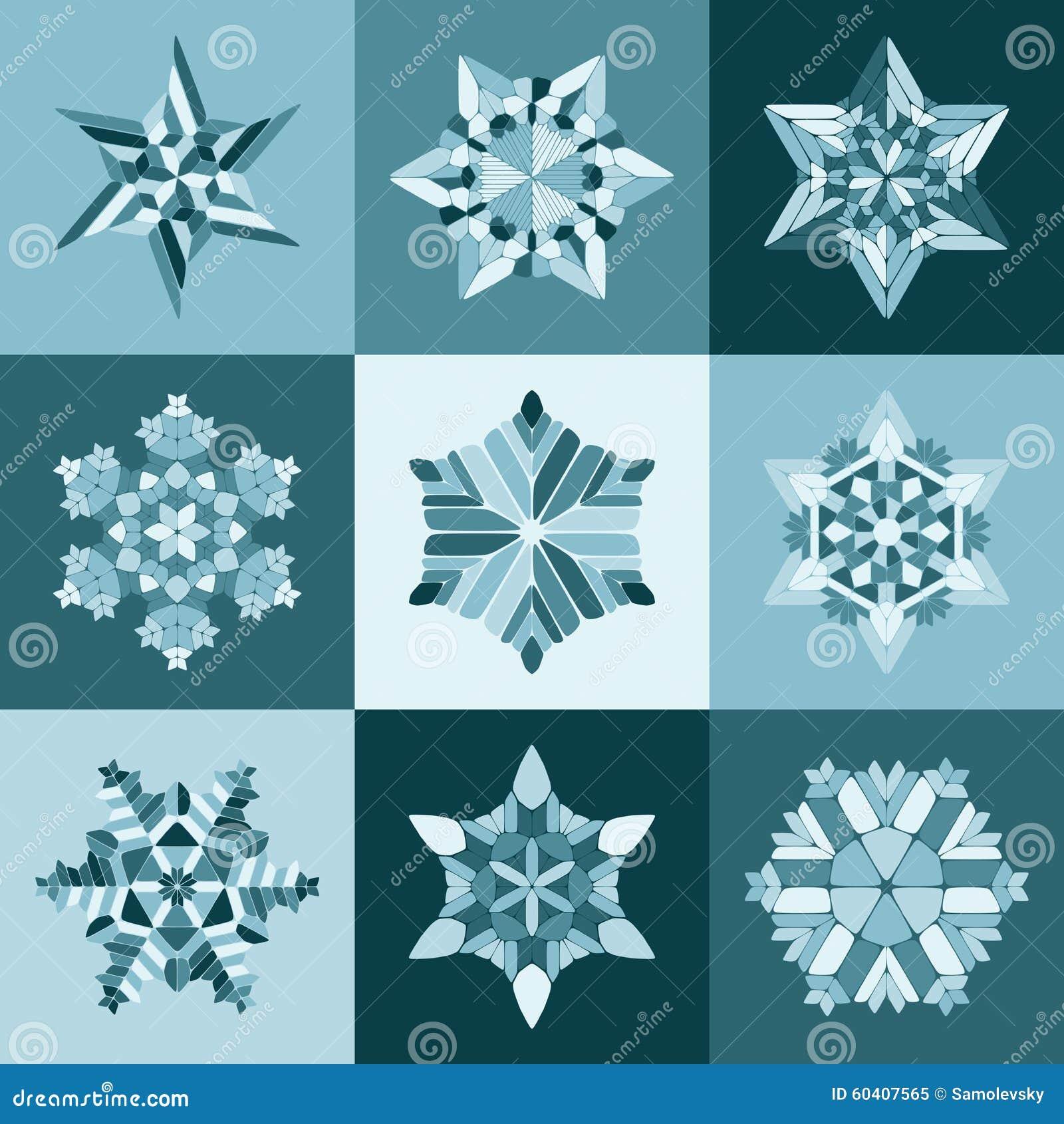 套九个传染媒介蓝色白色雪花形状设计元素