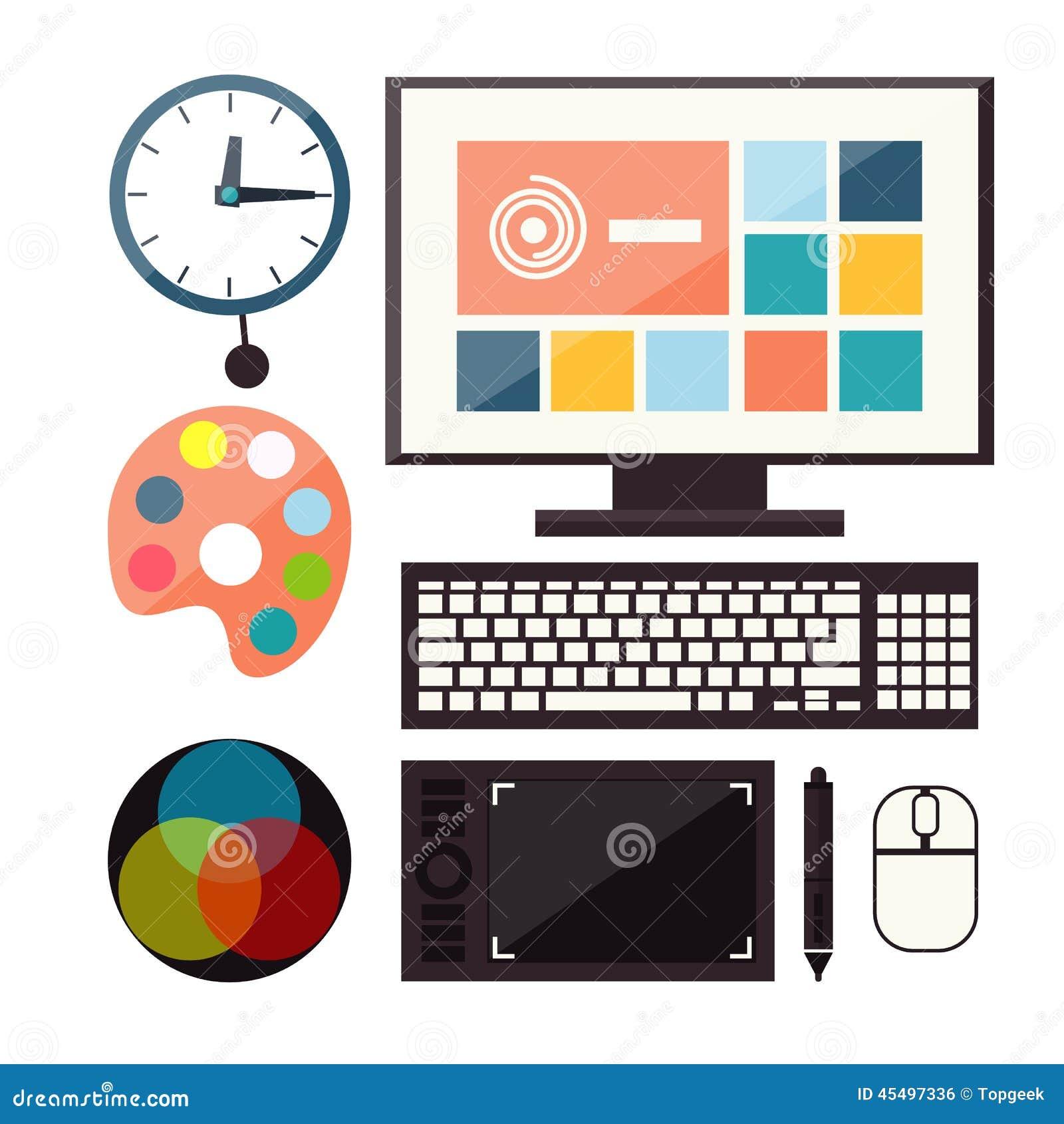 套五颜六色的图表,网络设计象