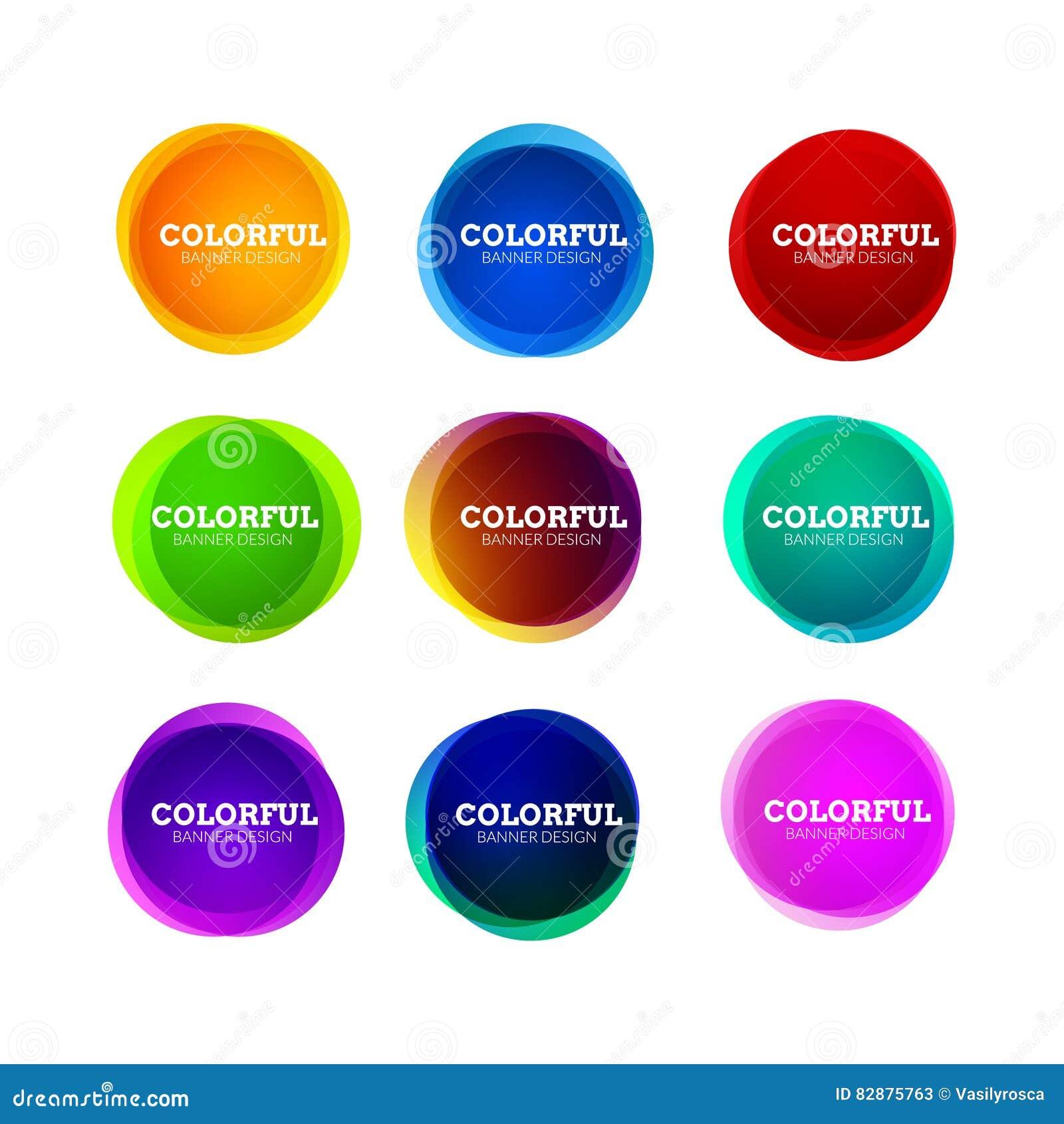 套五颜六色的圆的抽象横幅形状 图表覆盖物横幅设计 乐趣标签或标记设计