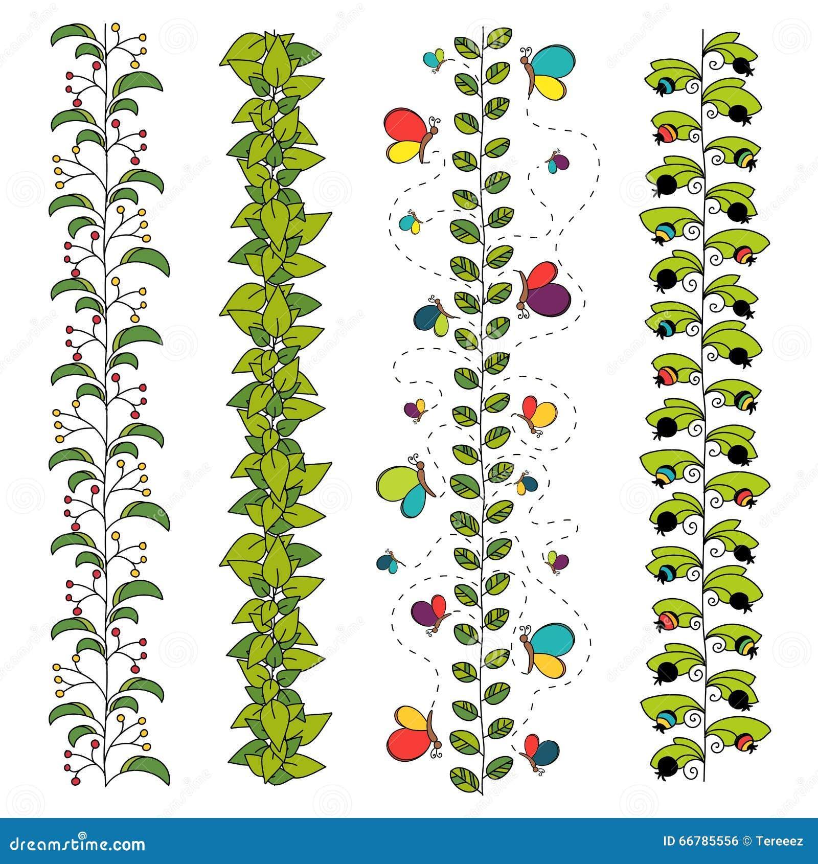 套五颜六色的花卉刷子或边界
