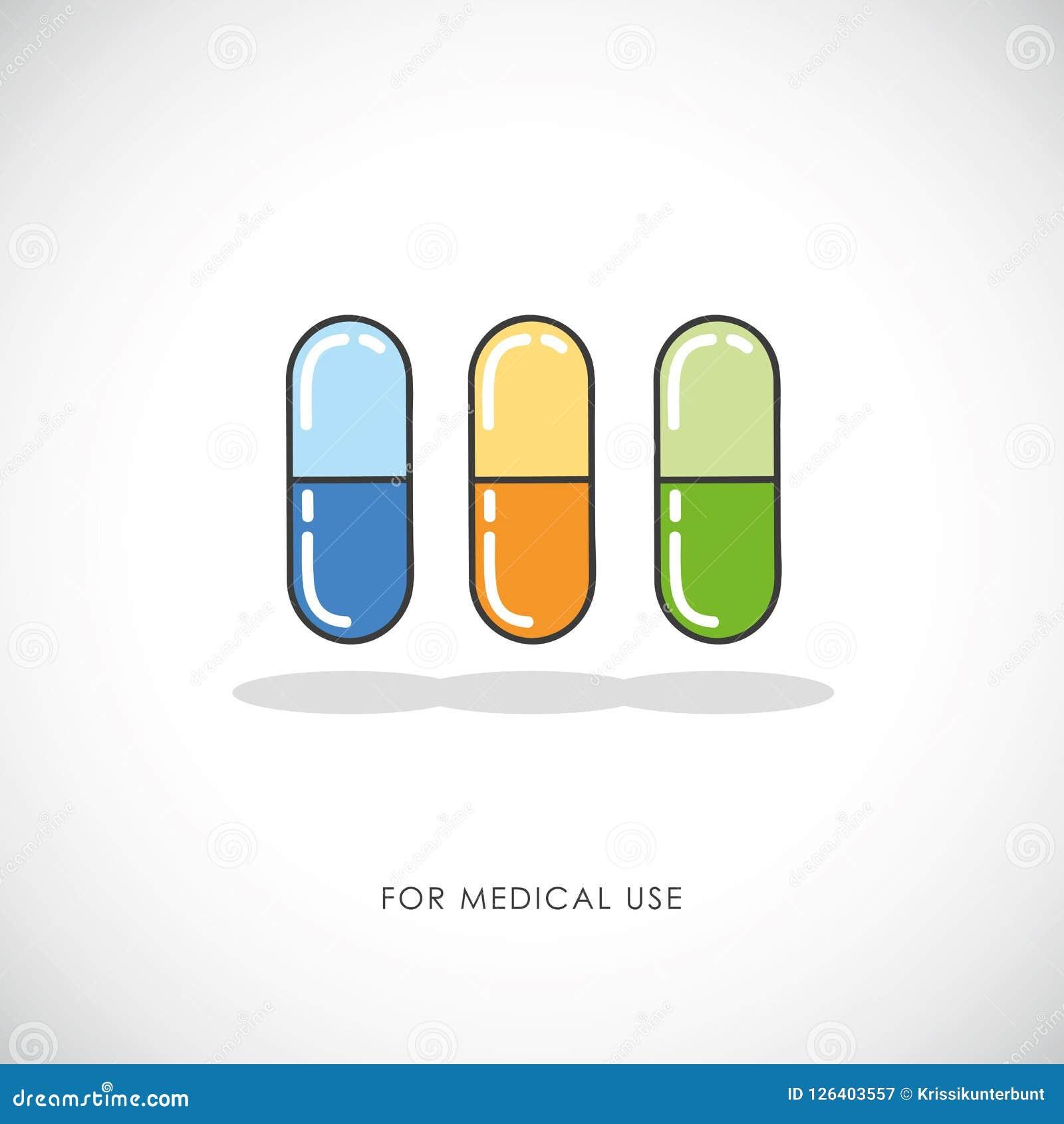 套五颜六色的药片和胶囊压片医疗象