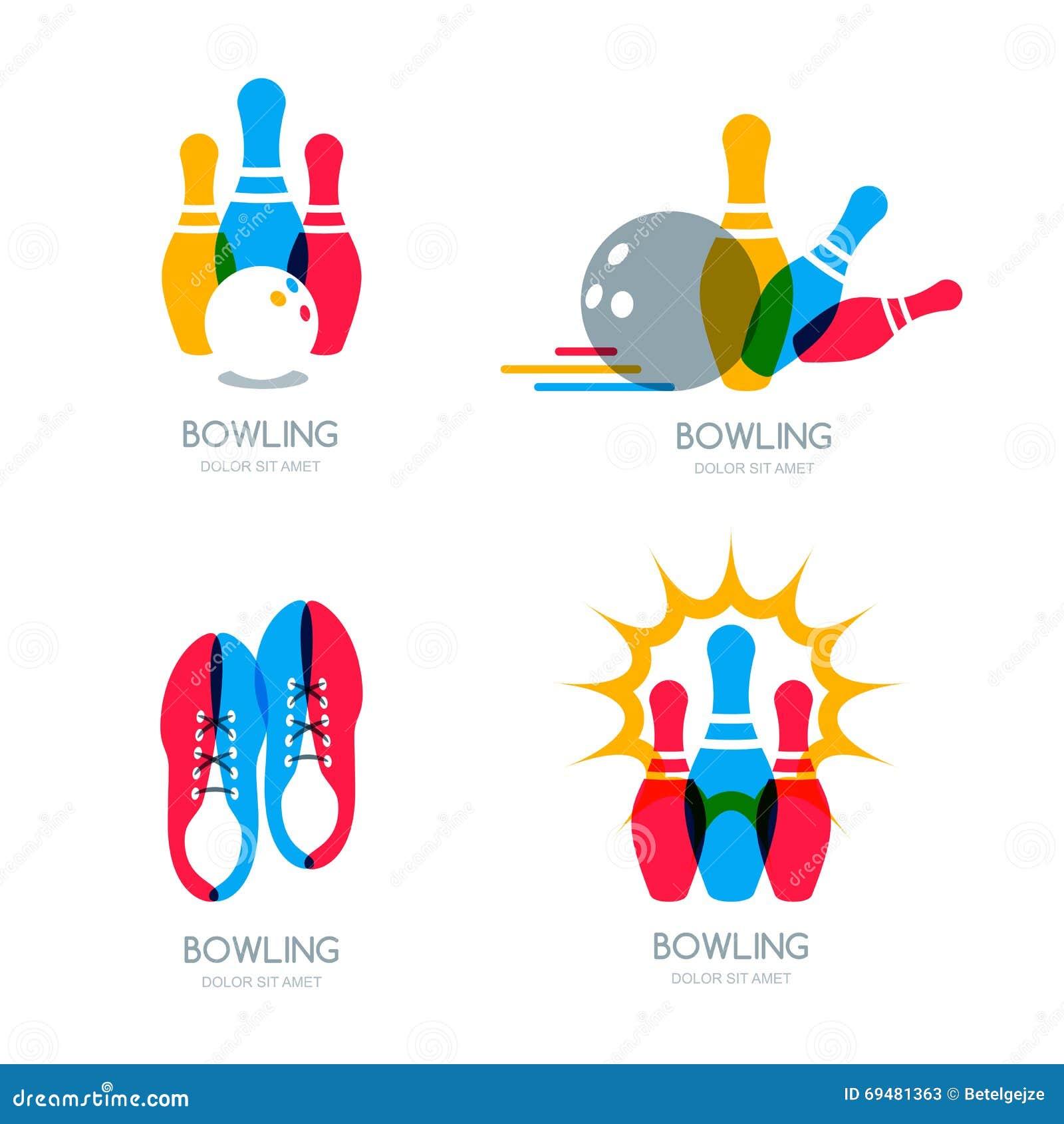 套传染媒介五颜六色的保龄球商标、象和标志