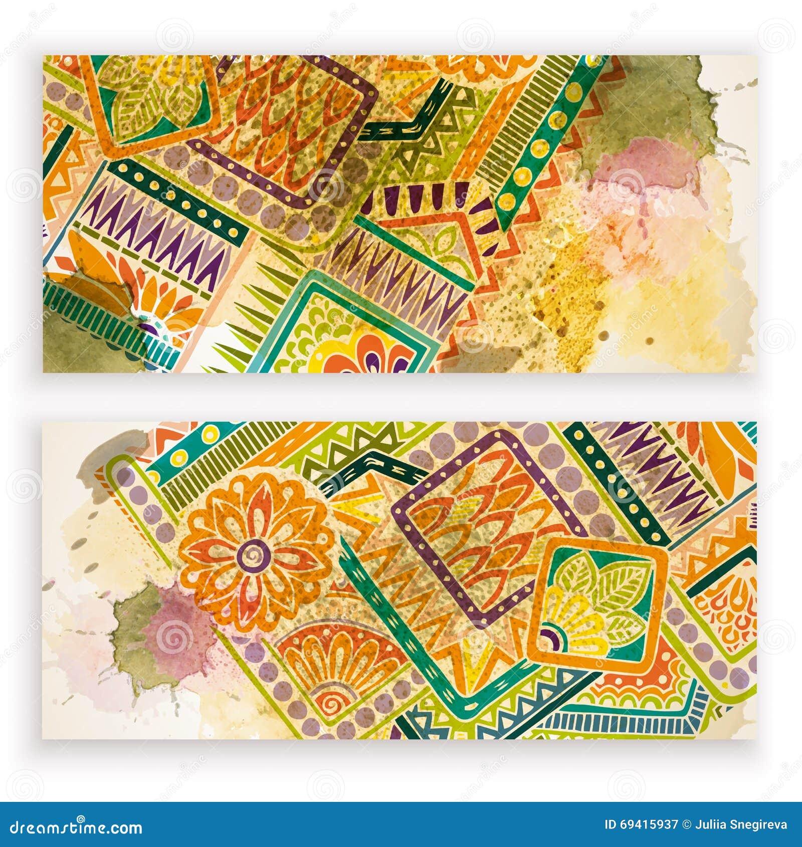 套传染媒介模板横幅有水彩油漆摘要背景和乱画手拉的花