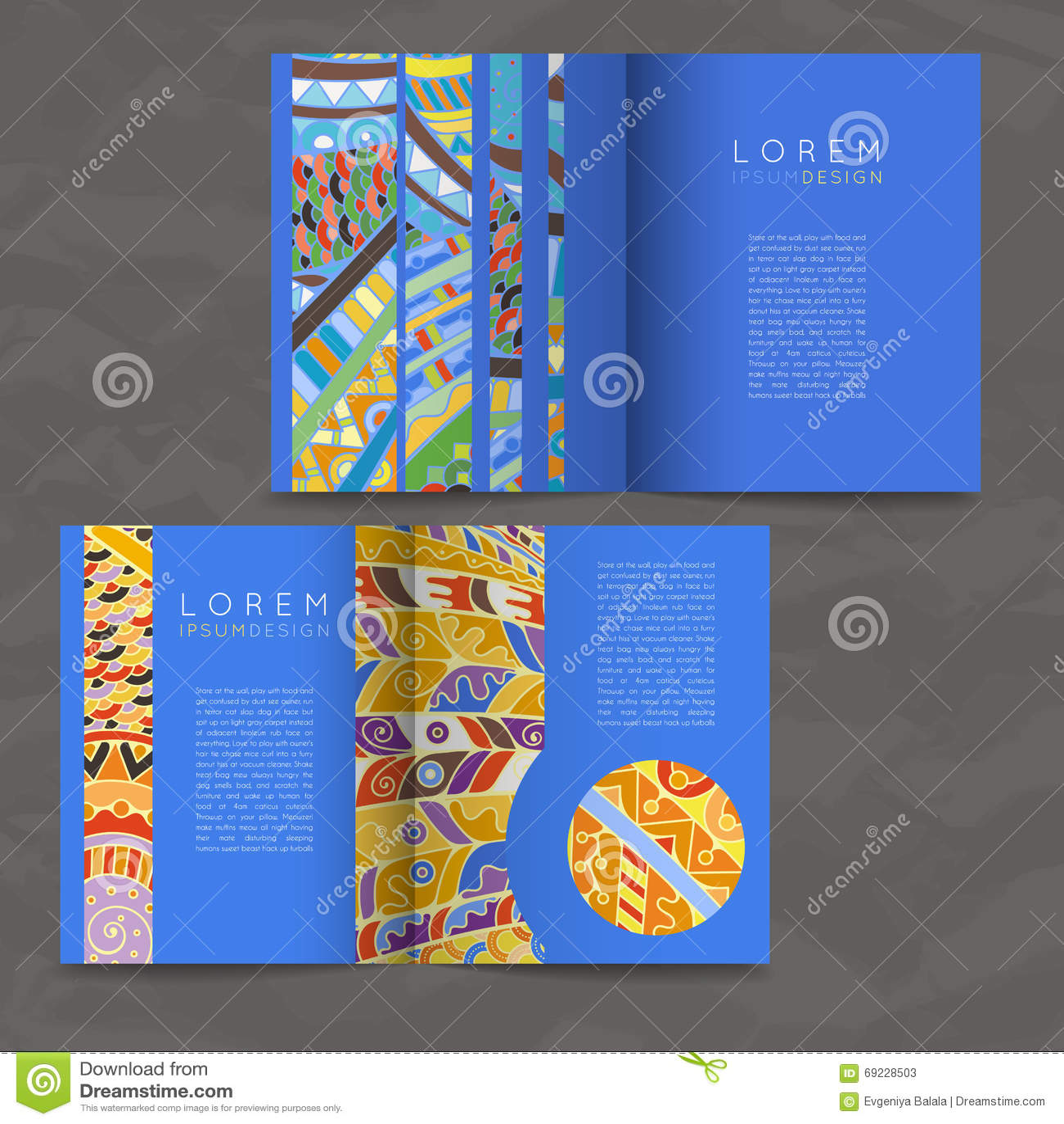 套传染媒介设计模板 在任意五颜六色的样式的小册子 Zentangle设计