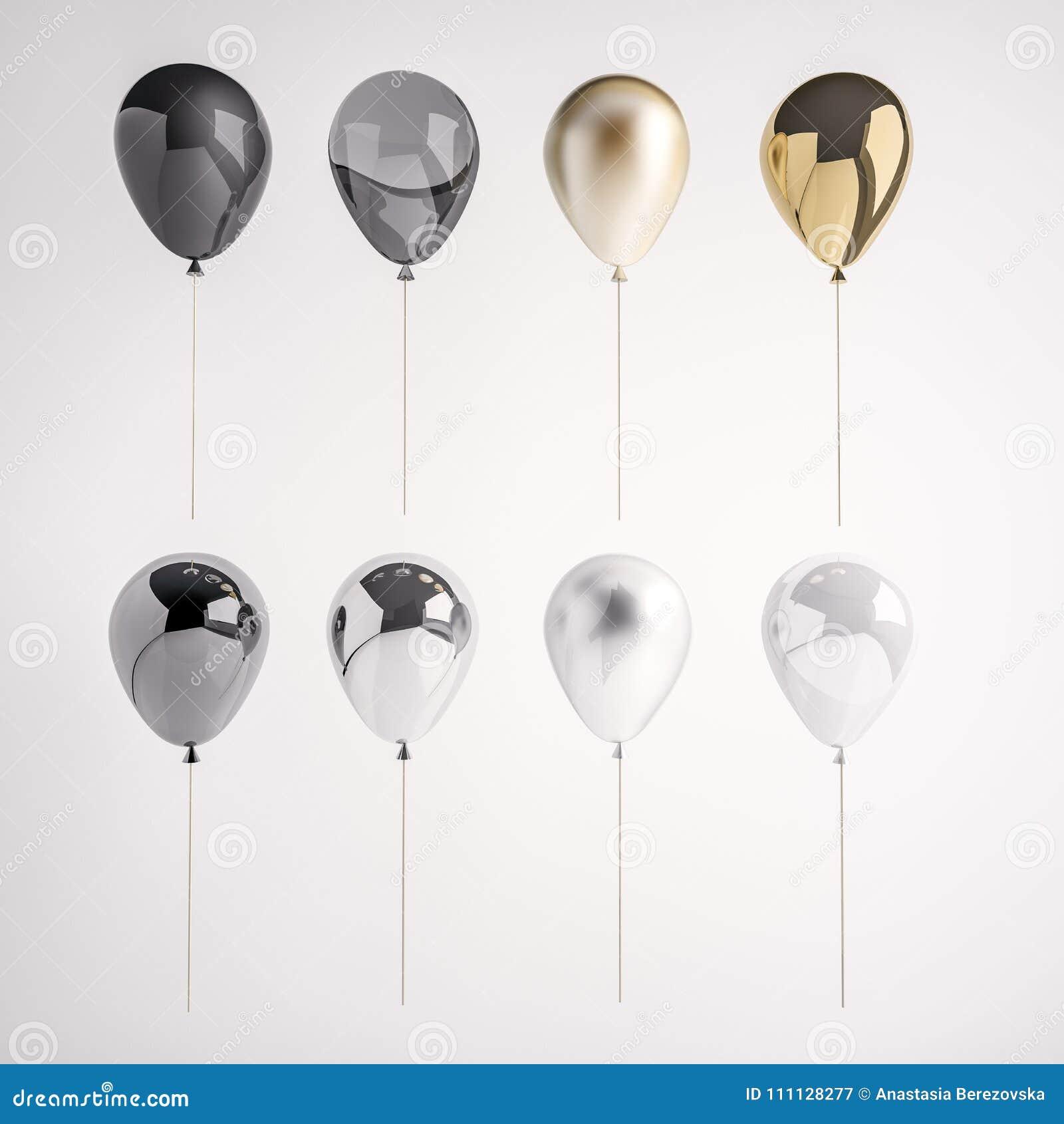 套光滑和缎黑色、白色、金黄,银色3D现实气球在棍子党的,事件、介绍或者其他p