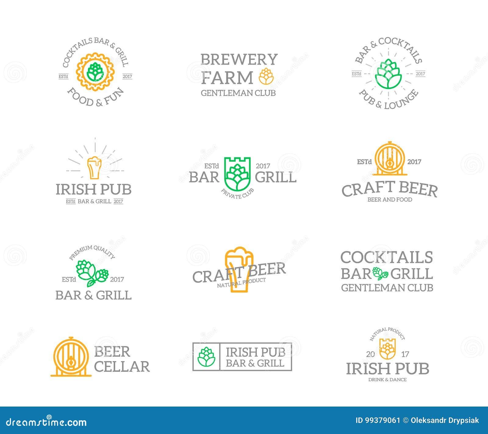 套减速火箭的葡萄酒啤酒和酒精商标或者权威、象征、标签和徽章和其他烙记的对象 向量