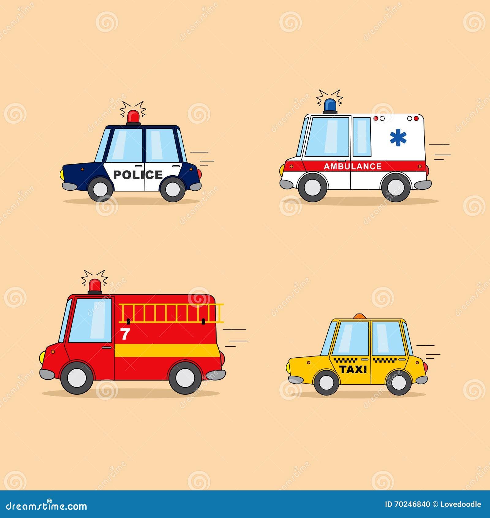 套动画片汽车:警车,救护车,消防队员卡车,出租汽车图片