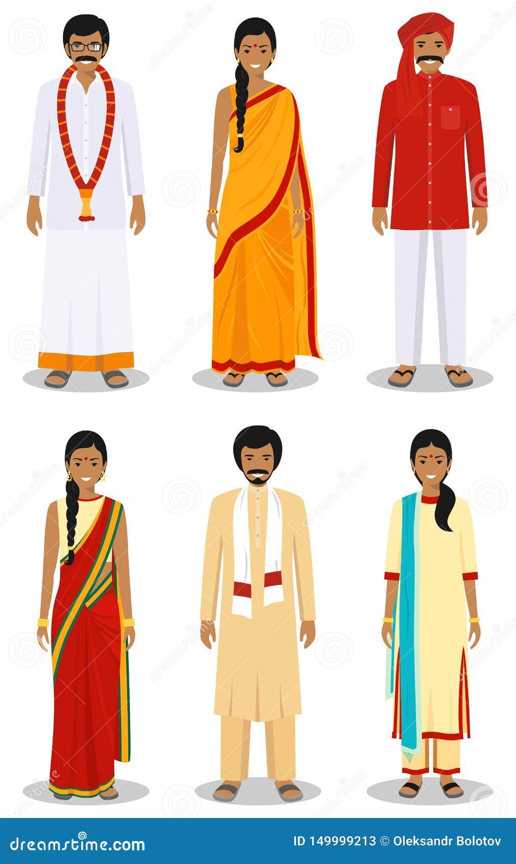 套另外身分印度年轻妇女和人在白色背景隔绝的传统衣物的