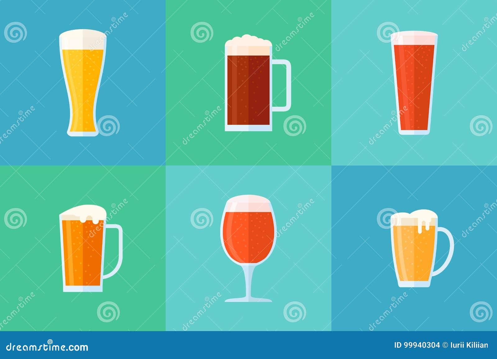套啤酒杯平的样式象 不同的啤酒类型 也corel凹道例证向量