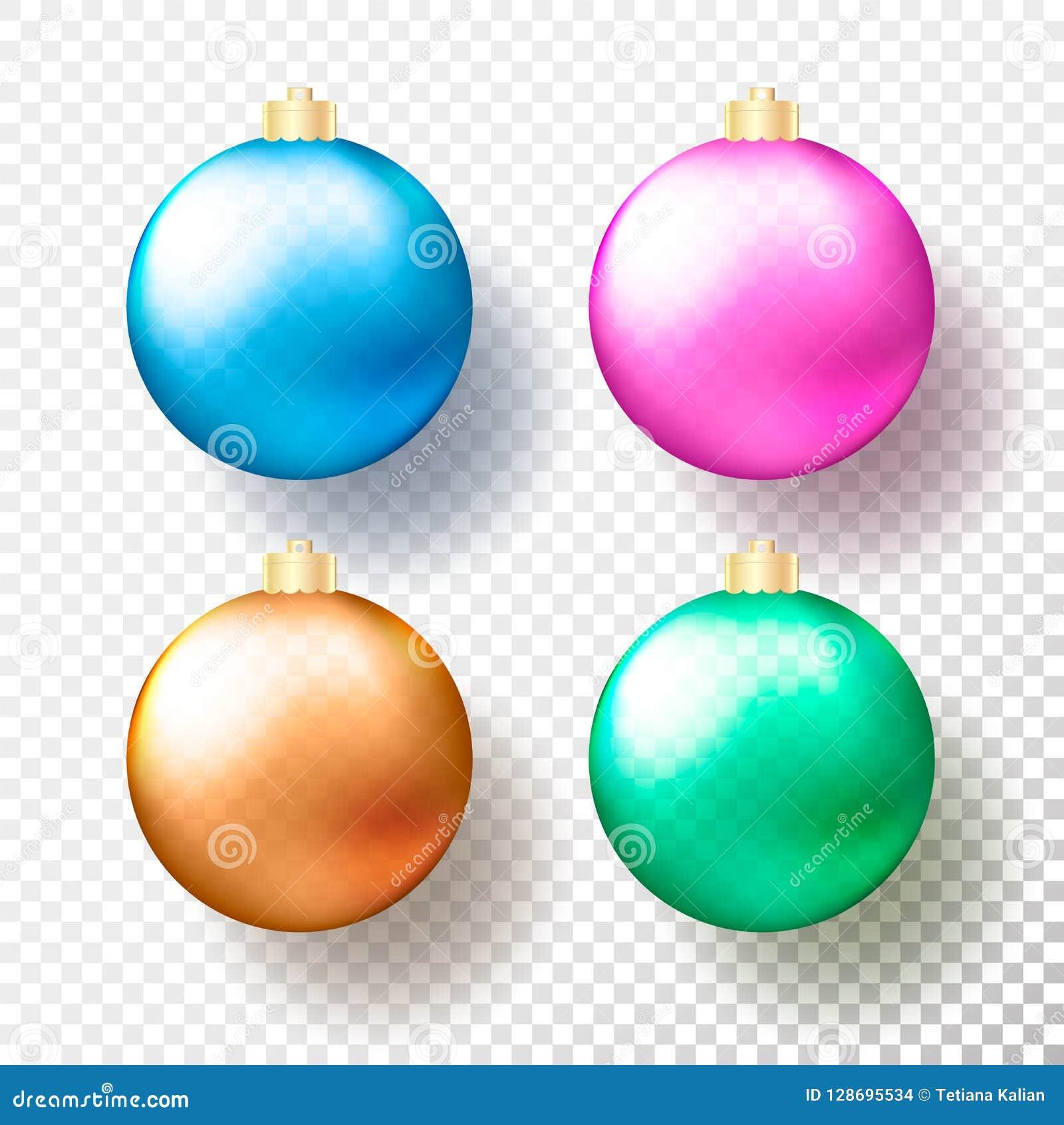 套四现实圣诞节或新年透明中看不中用的物品,球形或者球用不同的颜色与金黄盖帽