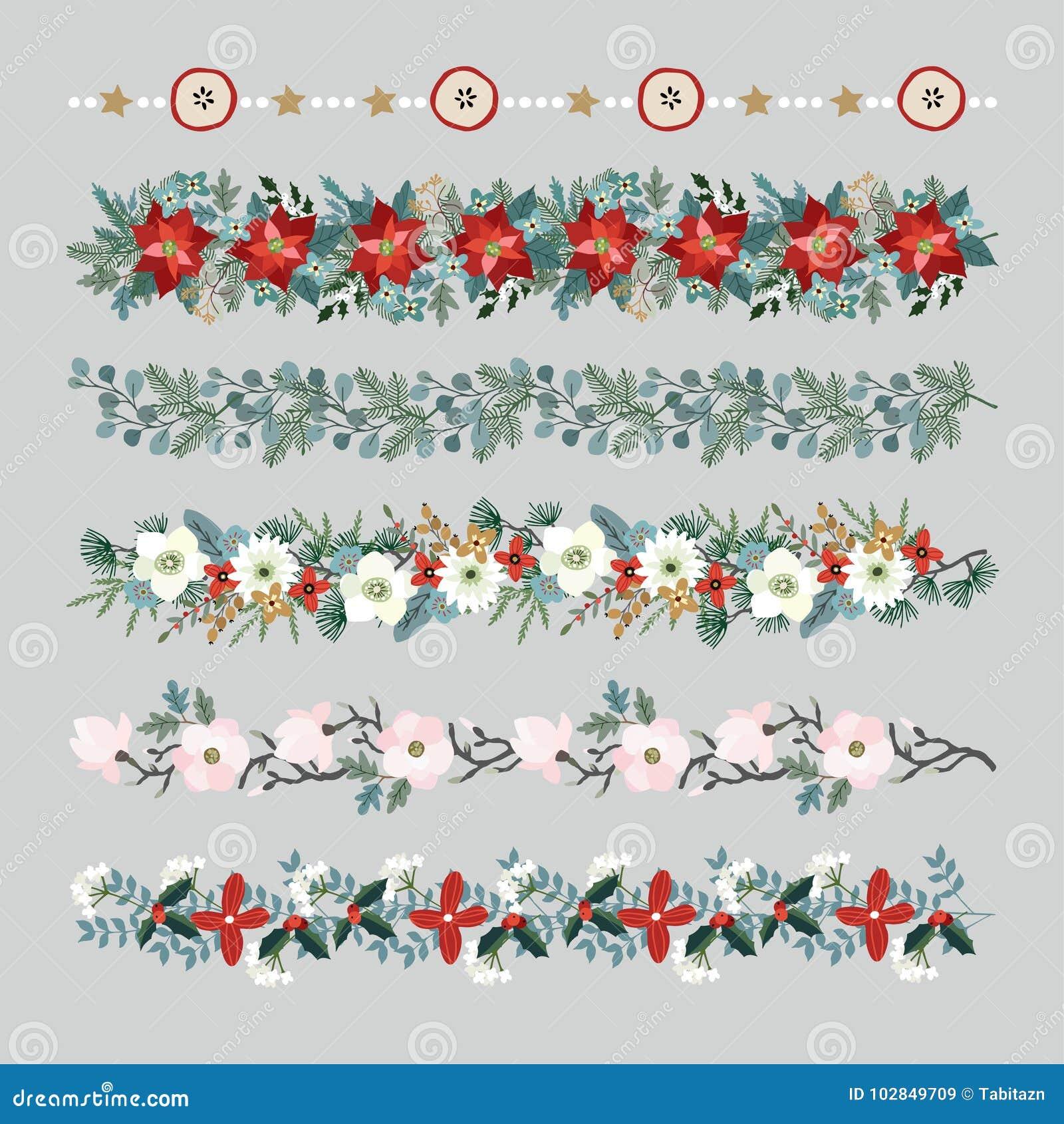 套圣诞节边界、串、诗歌选或者刷子 集会与冷杉和玉树分支的装饰