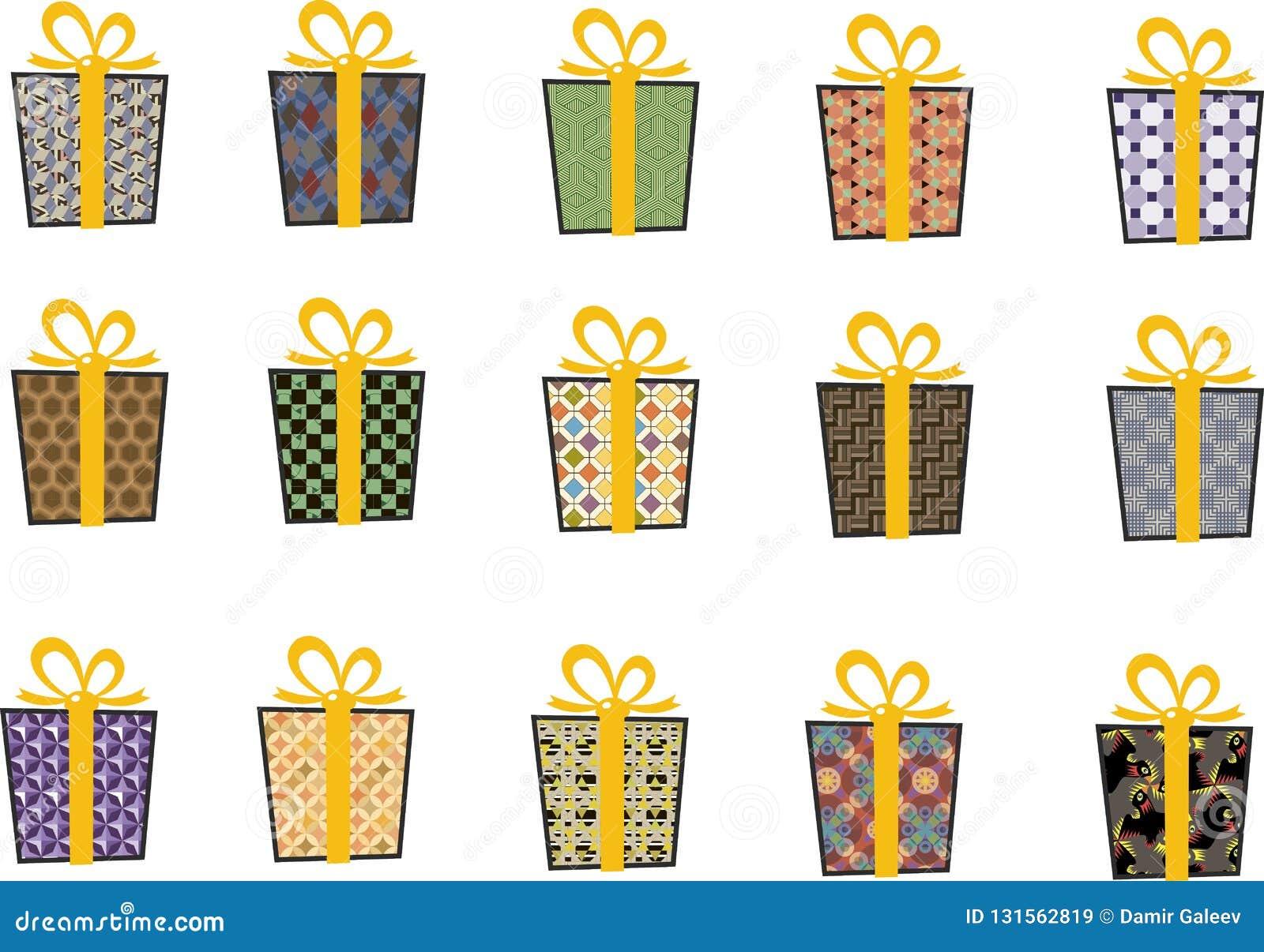 套在平的样式的传染媒介象圣诞节的 时髦的套礼物和圣诞节袜子 录制黄色