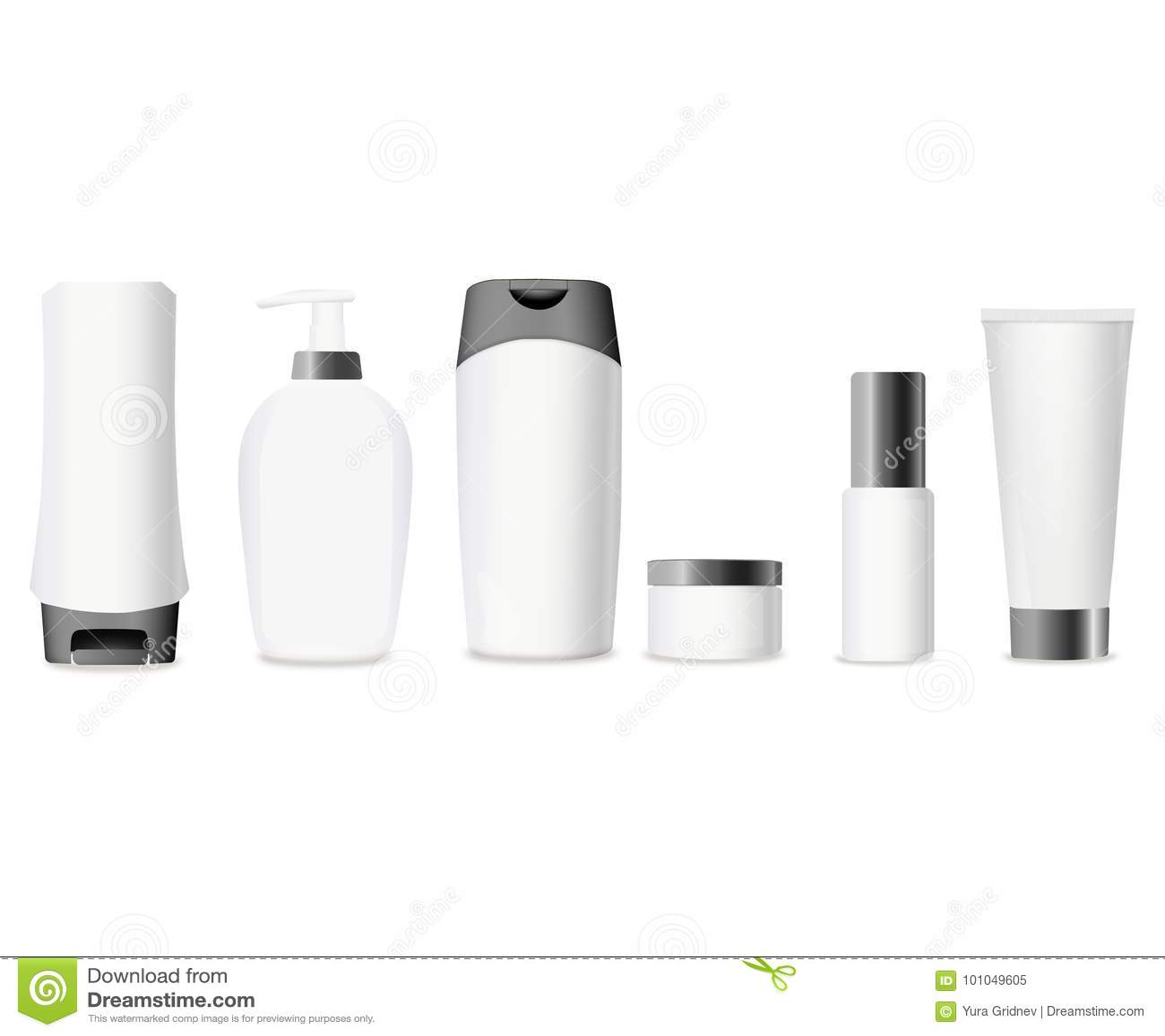 套在白色背景的现实化妆瓶 奶油,汤的化妆包裹收藏,起泡沫,香波,胶浆 假装U