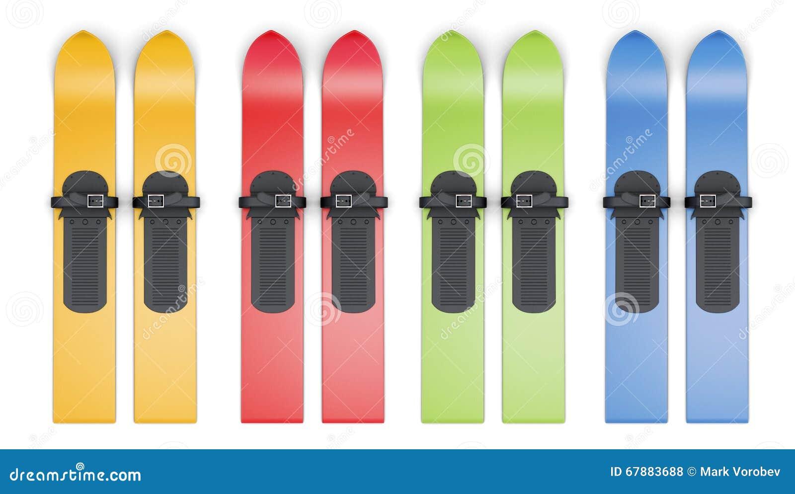 套在白色背景的色的滑雪 3d翻译