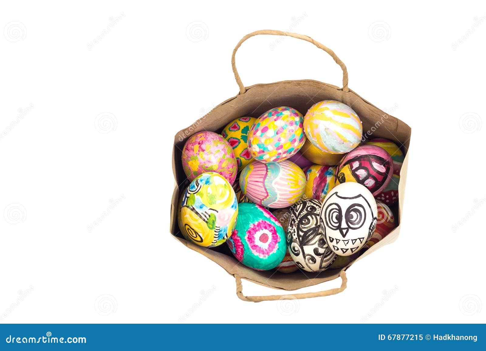 套在纸袋的五颜六色的复活节彩蛋