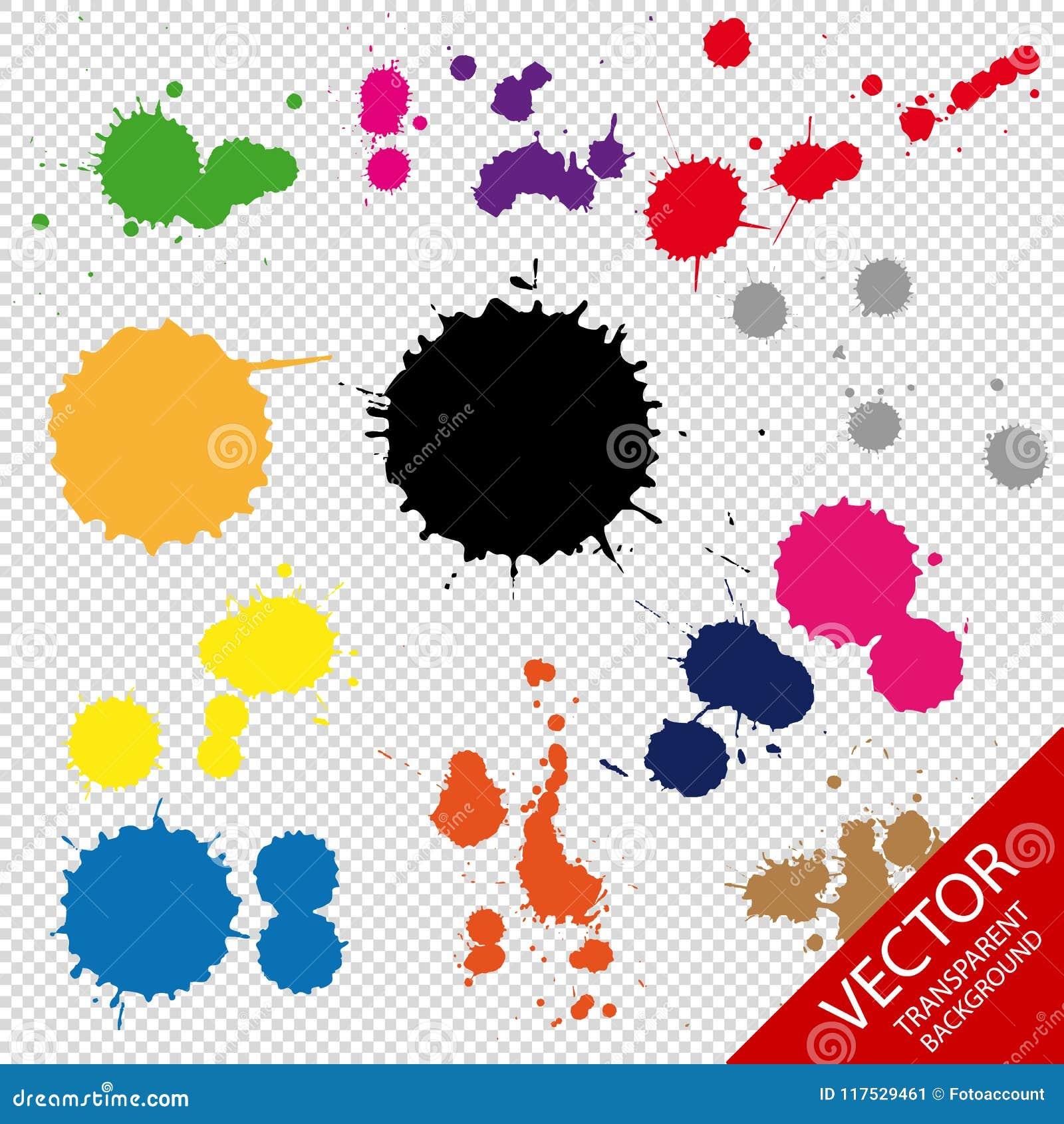 套在透明背景用不同的颜色-传染媒介例证-隔绝的墨水小点