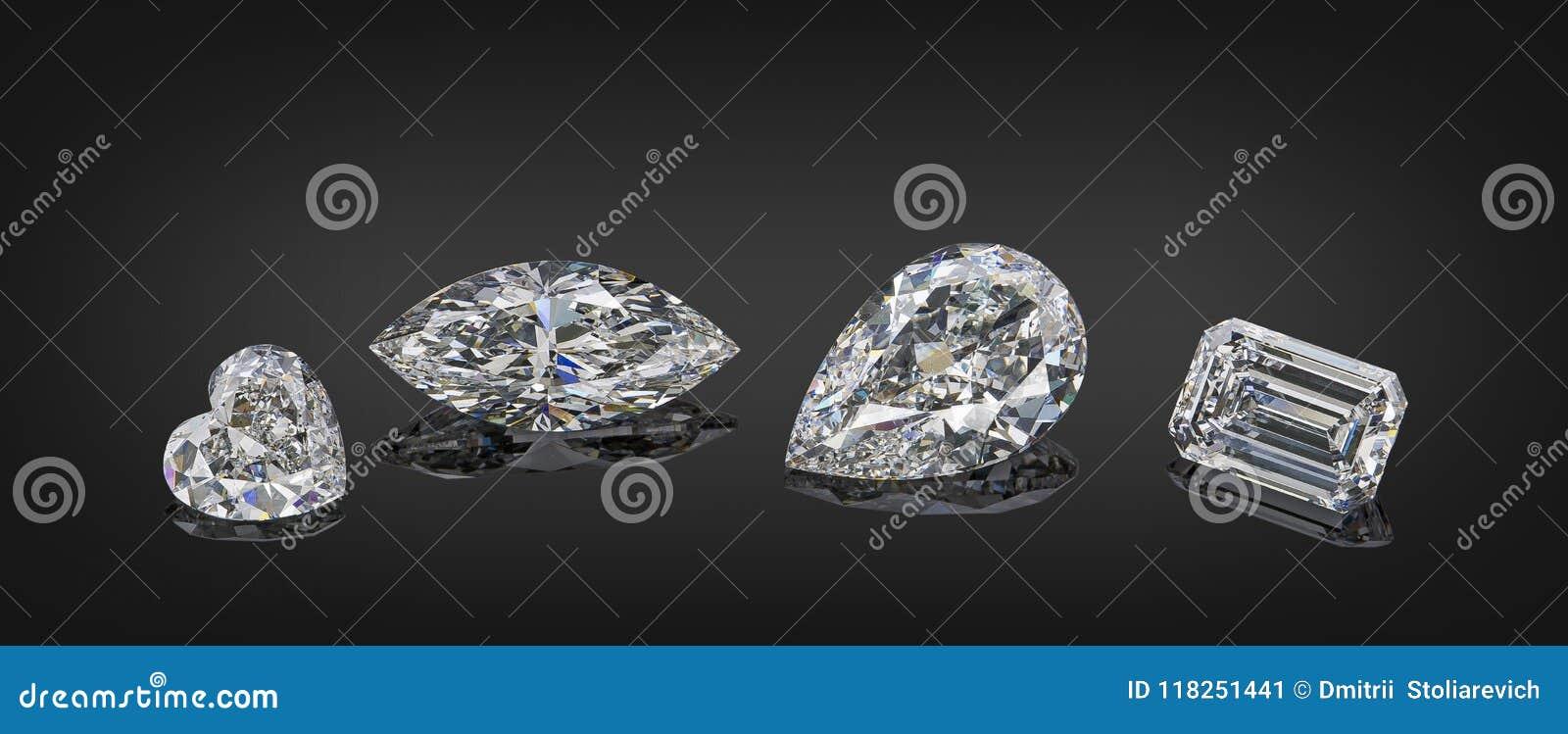 套在黑背景隔绝的各种各样的裁减形状金刚石拼贴画豪华无色的透明闪耀的宝石