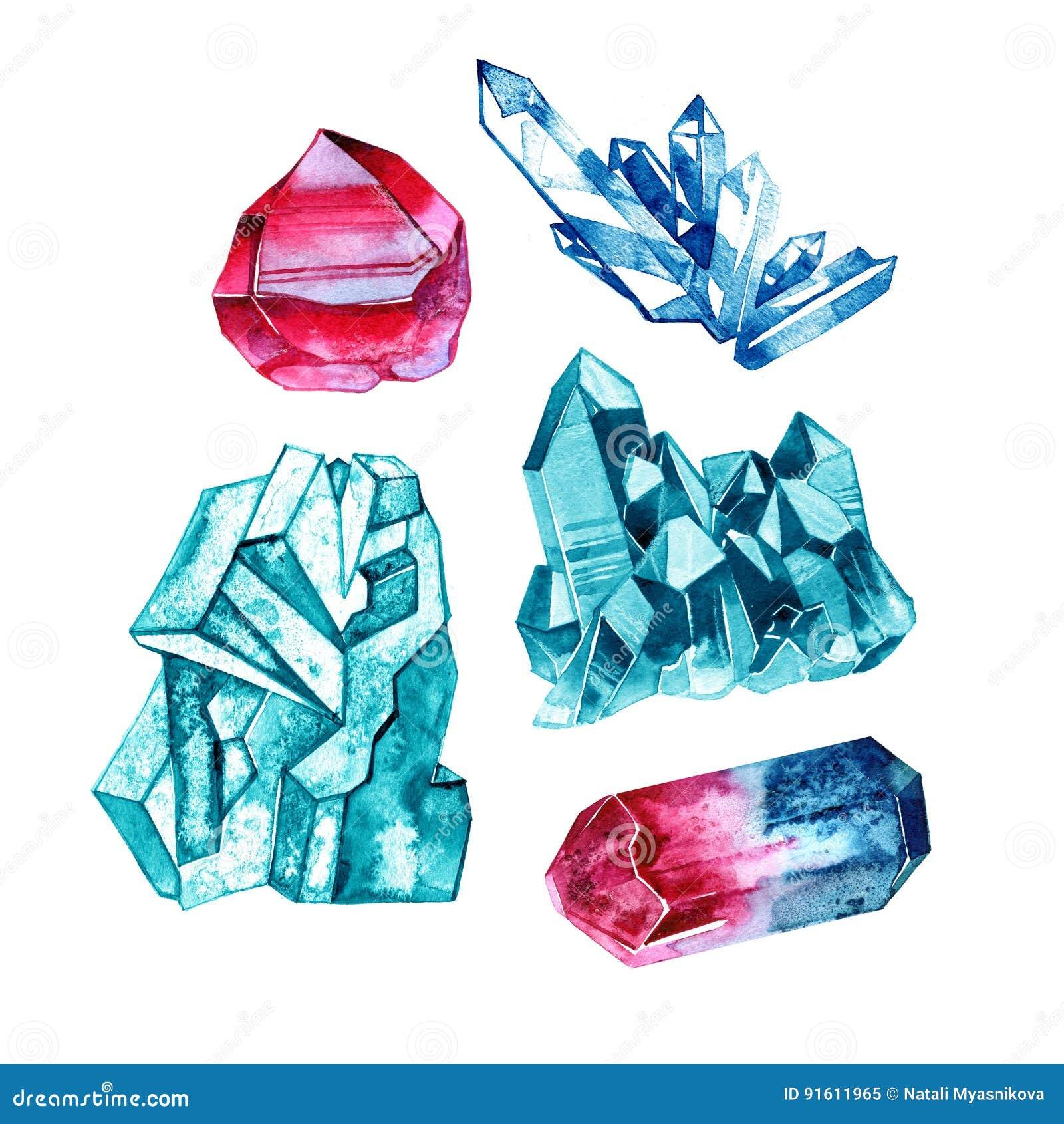 套在水彩样式的水晶宝石 在白色的例证