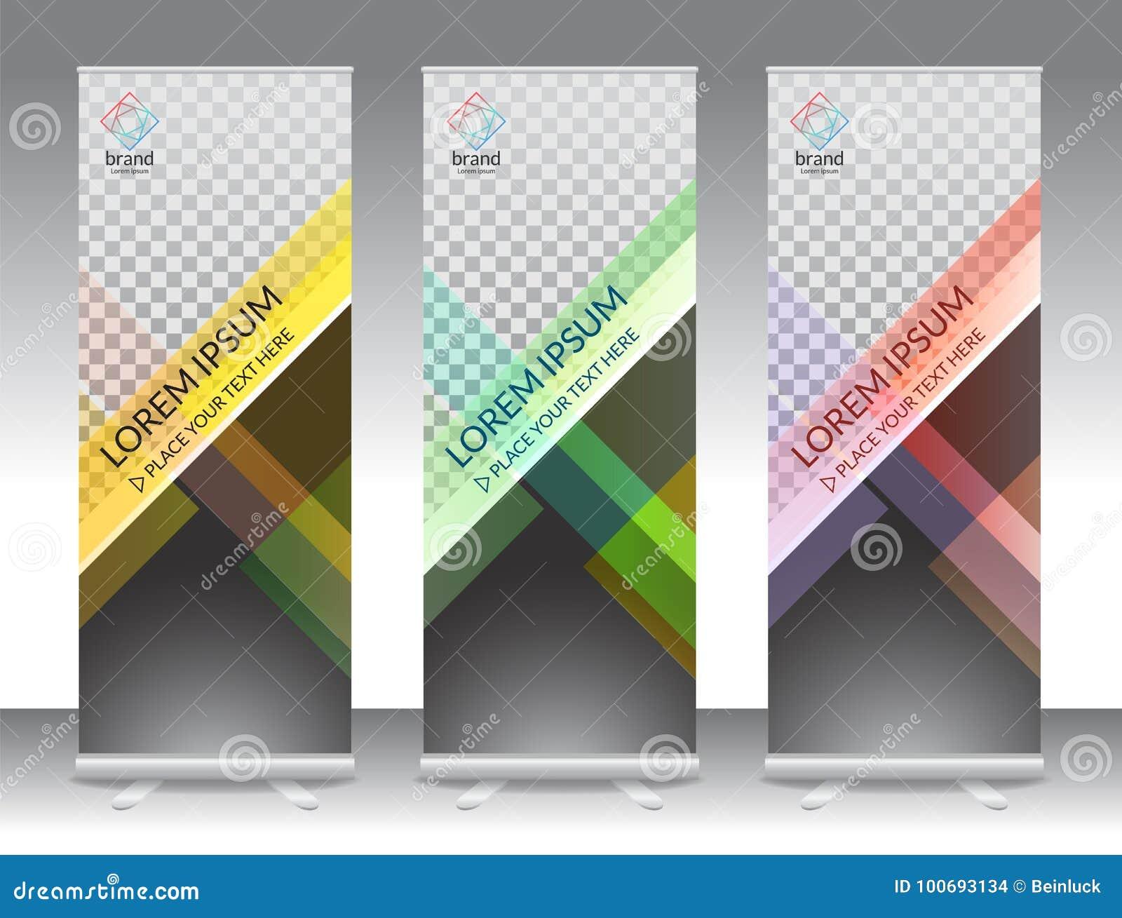 套垂直的抽象显示横幅立场或卷起设计