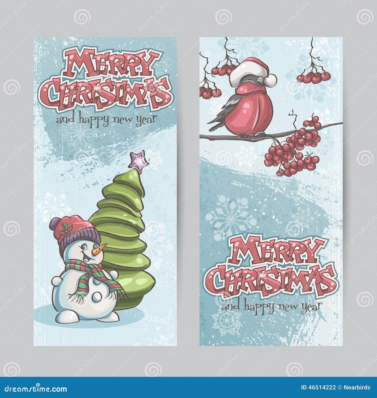 套垂直的横幅圣诞节和新年与pi
