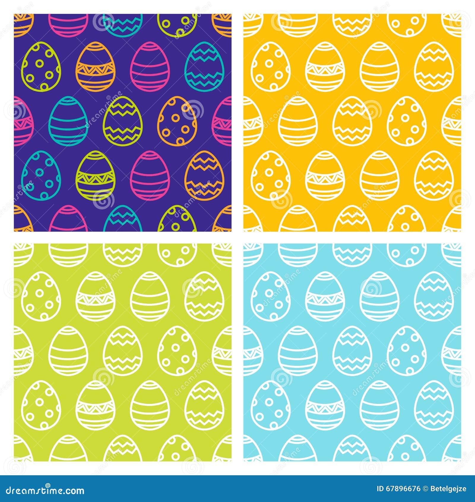 套复活节无缝的样式用线性多色鸡蛋