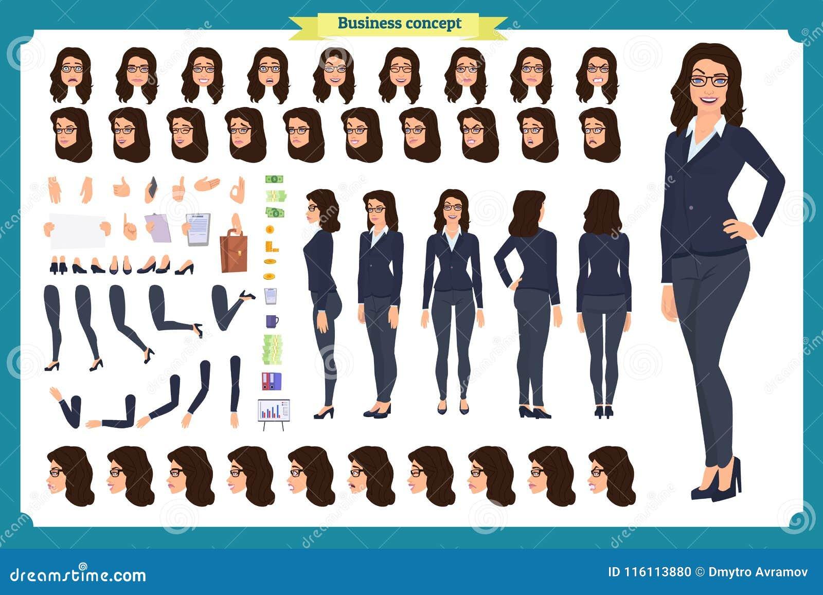 套女实业家字符设计 前面,边,后面看法给字符赋予生命 企业女孩 动画片,平的传染媒介被隔绝