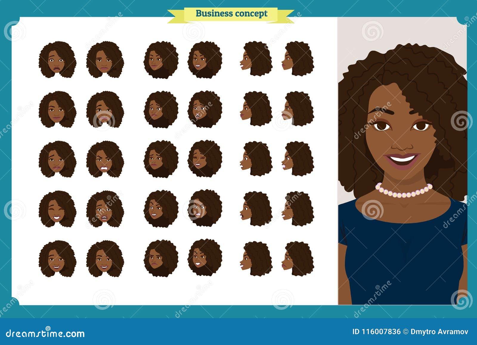 套妇女` s情感设计 表情 前面,边,外形视图给字符赋予生命 向量 企业女孩字符